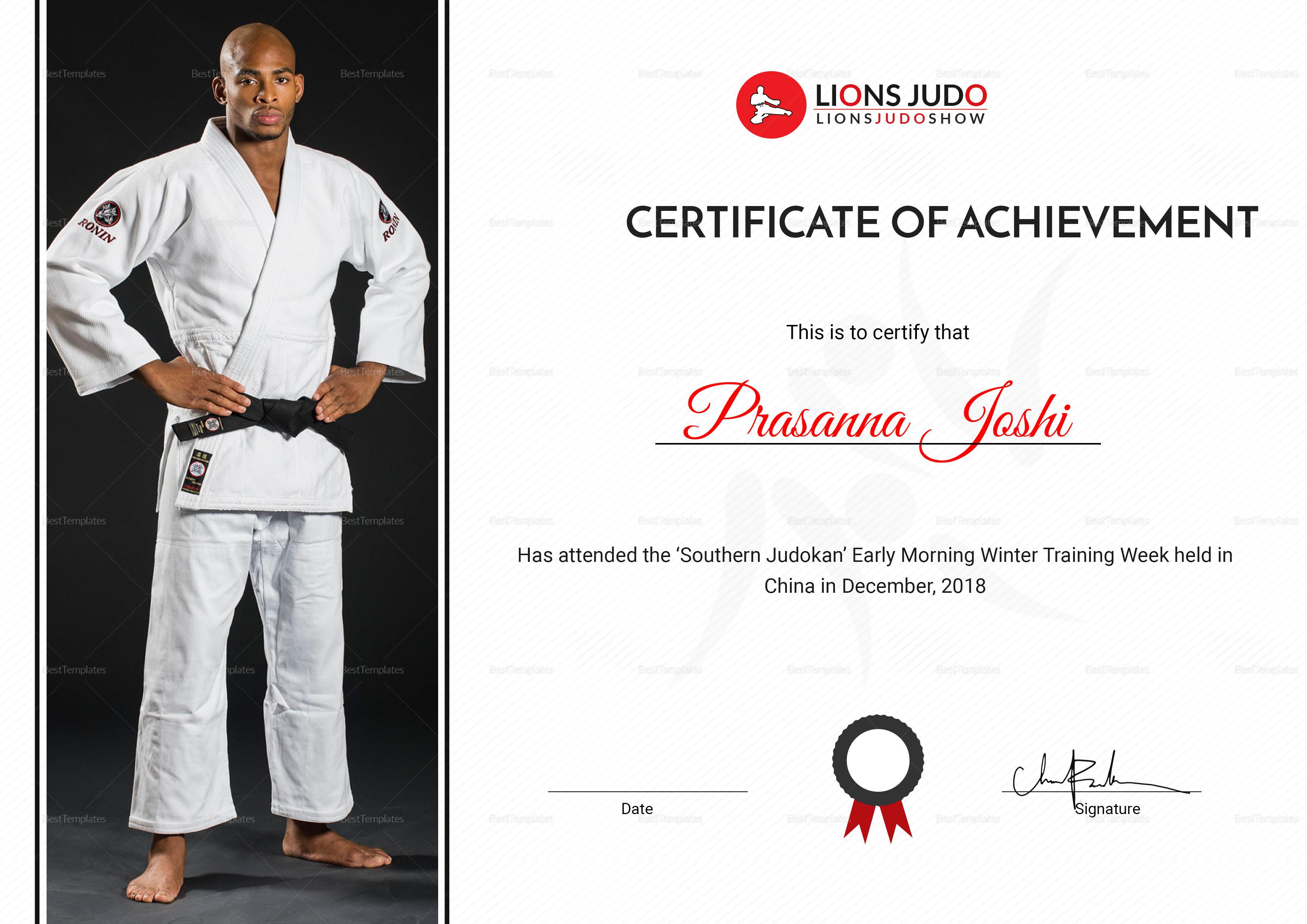 Judo Achievement Certificate Design Template In Psd Word