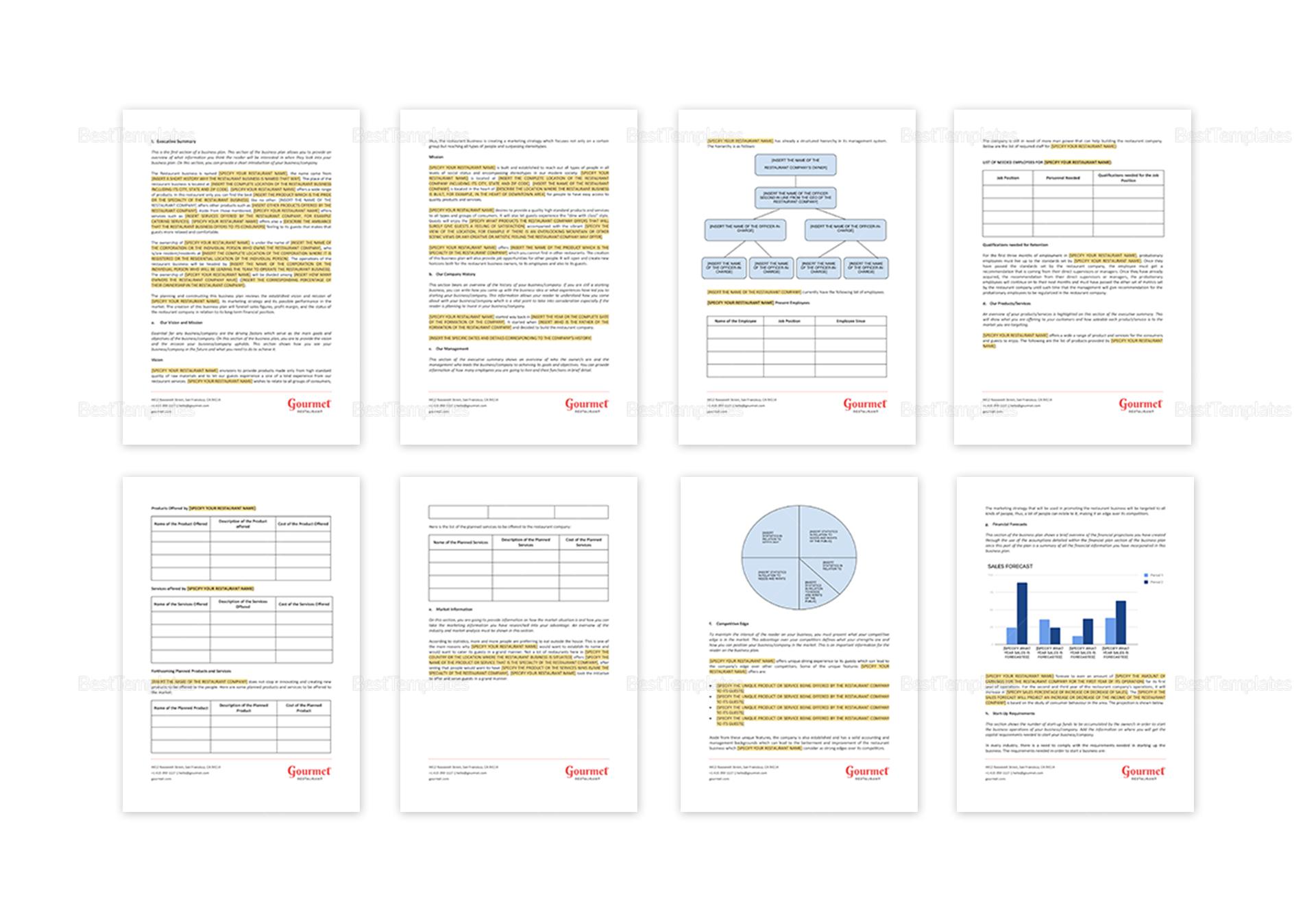 Sample Restaurant Business Plan Outline Template