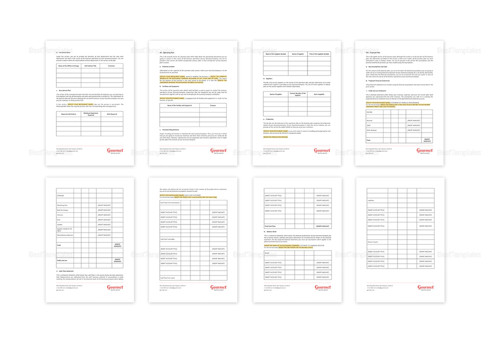 Editable Restaurant Business Plan Outline