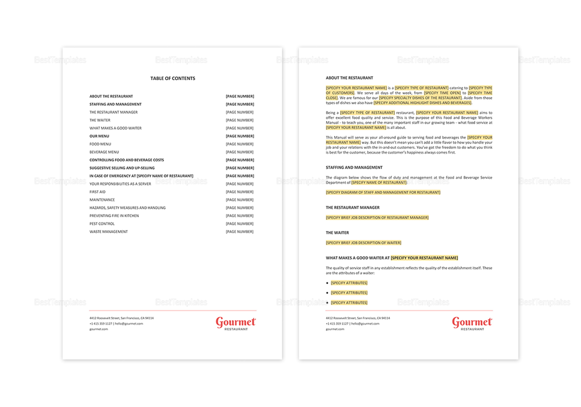 Restaurant Food Beverage Workers Manual Template