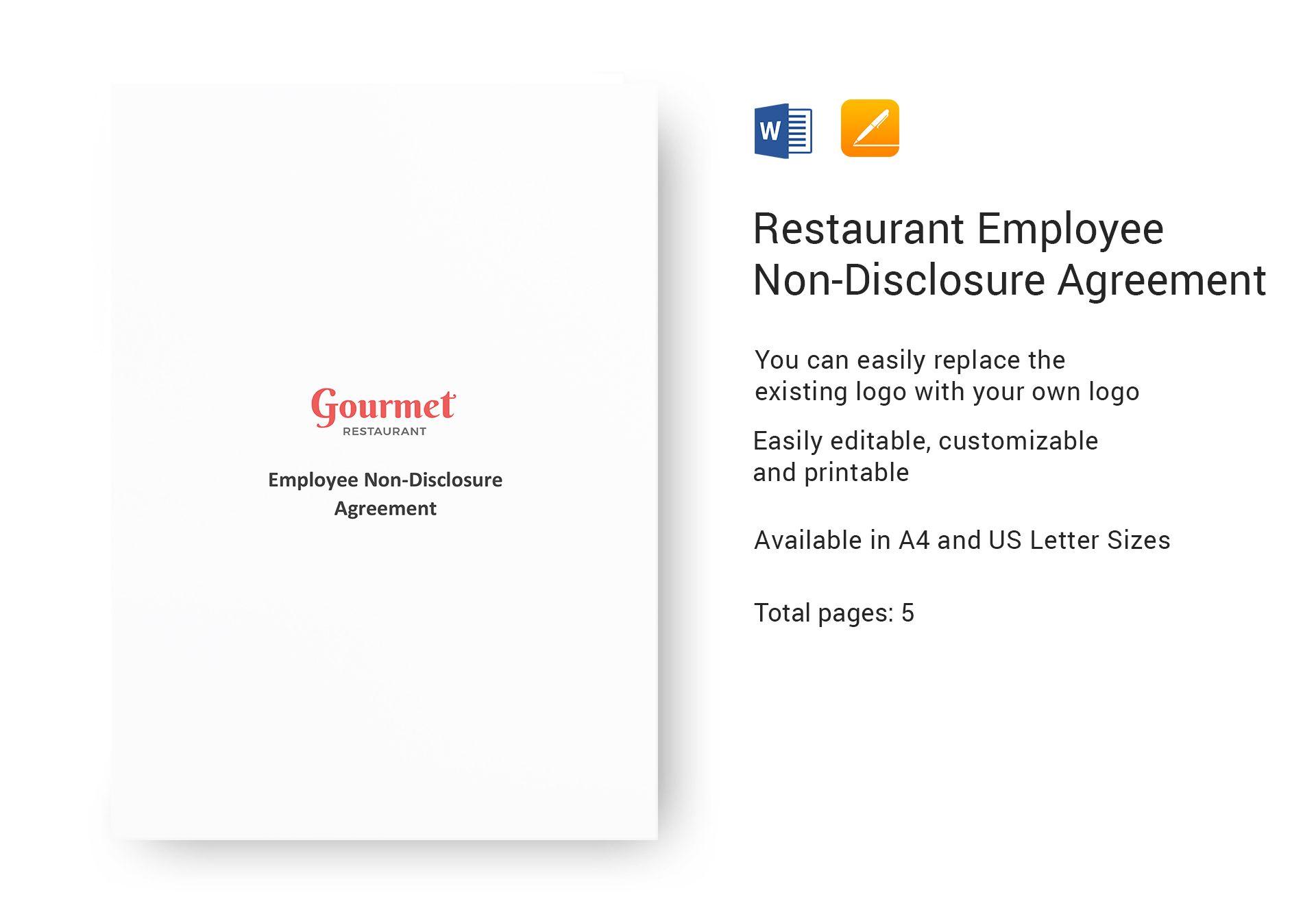 Restaurant Employee Non-Disclosure Agreement