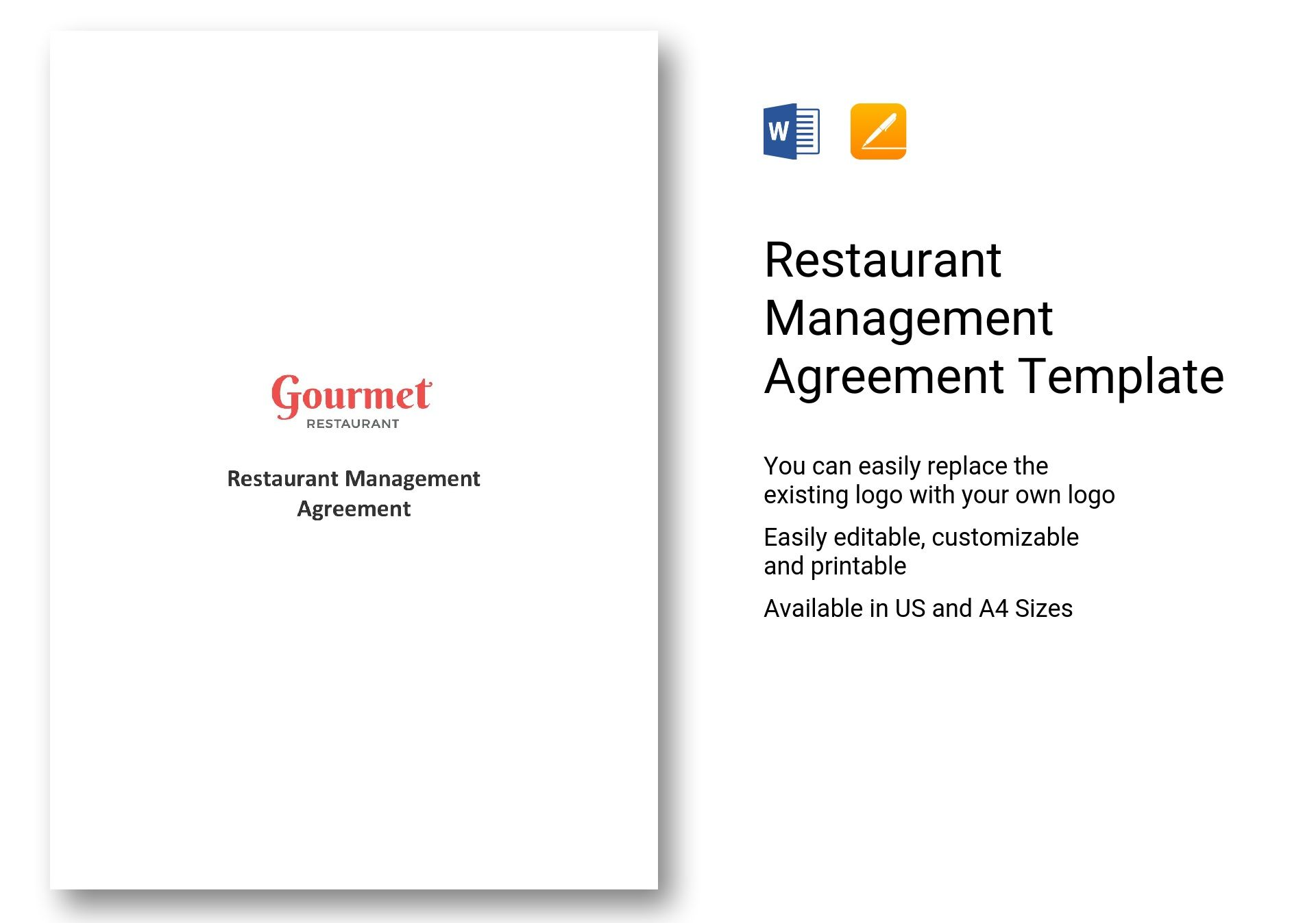 Restaurant Management Agreement Template In Word Pages