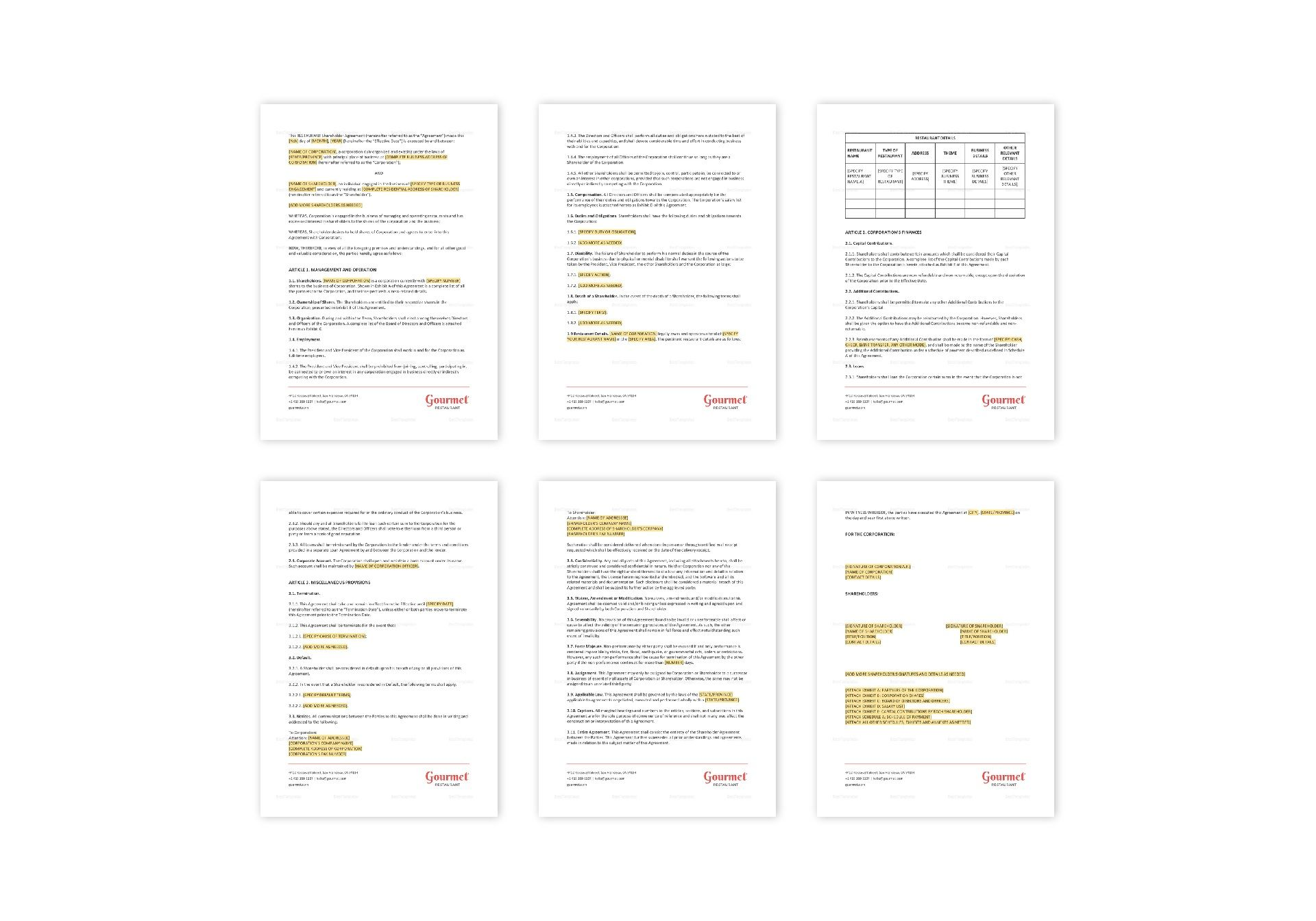 Restaurant Shareholders Agreement Template In Ms Word Pages