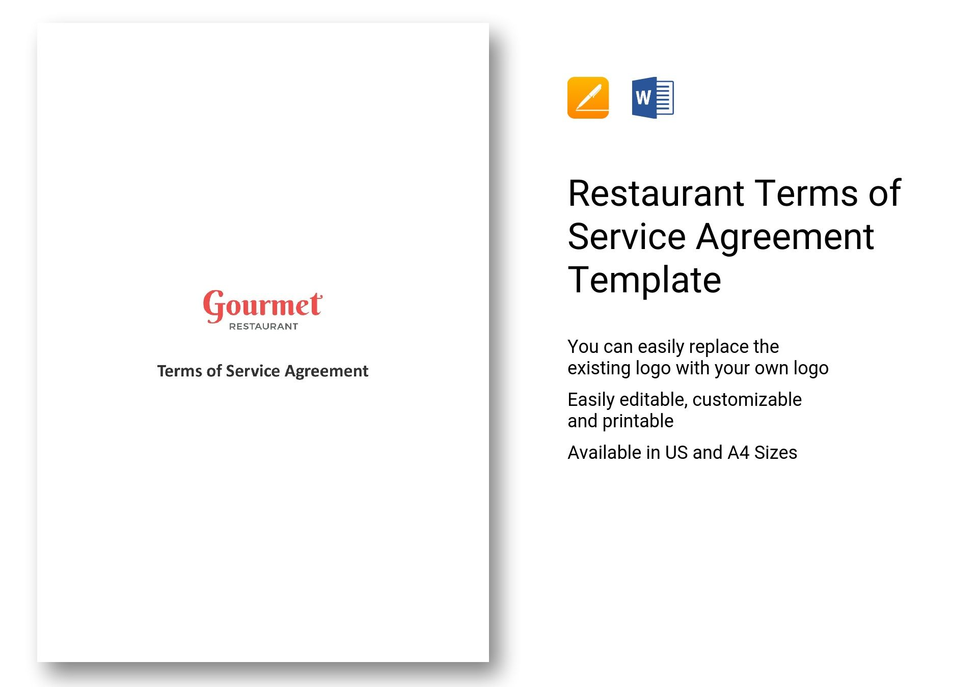 Restaurant Terms Of Service Agreement Template In Ms Word Pages