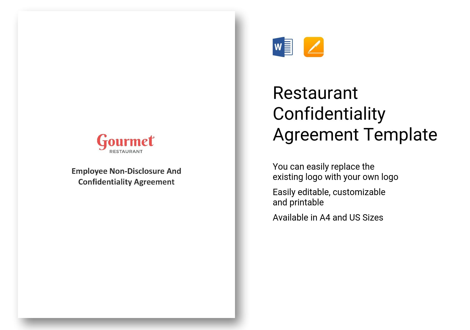 Hr Confidentiality Agreement | Restaurant Confidentiality Agreement Template In Ms Word Pages