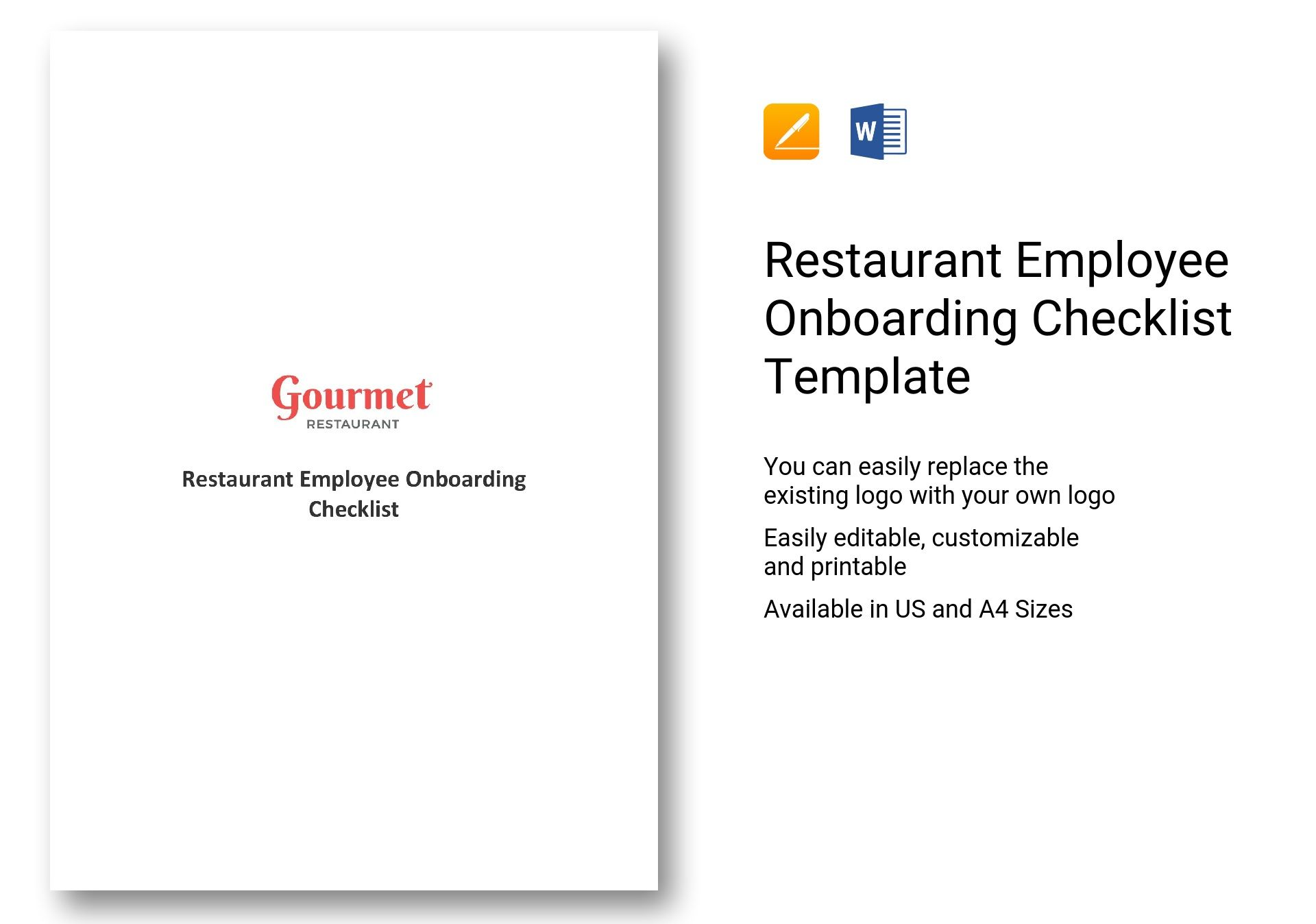 restaurant employee onboarding checklist template in ms word pages