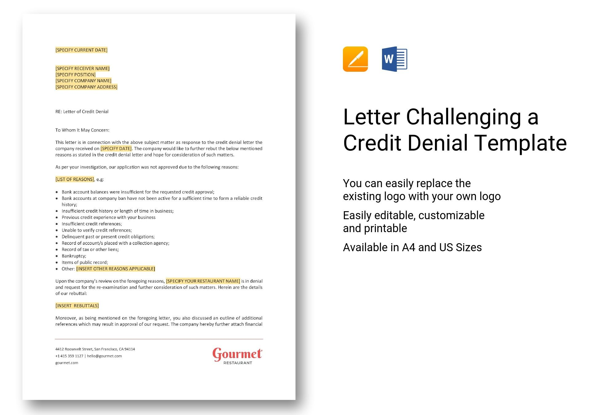 Letter Challenging a Credit Denial