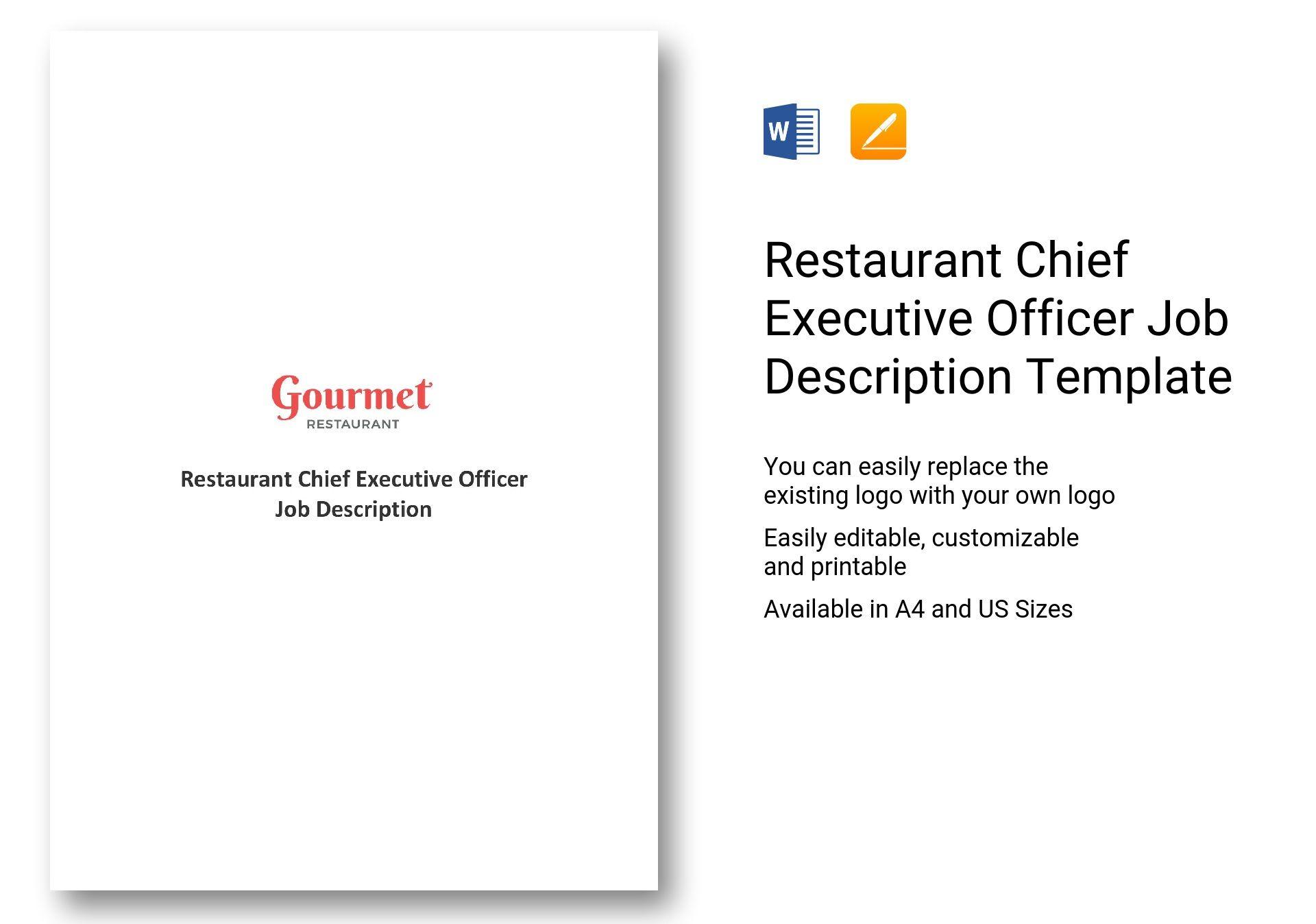 Restaurant Chief Executive Officer Job Description