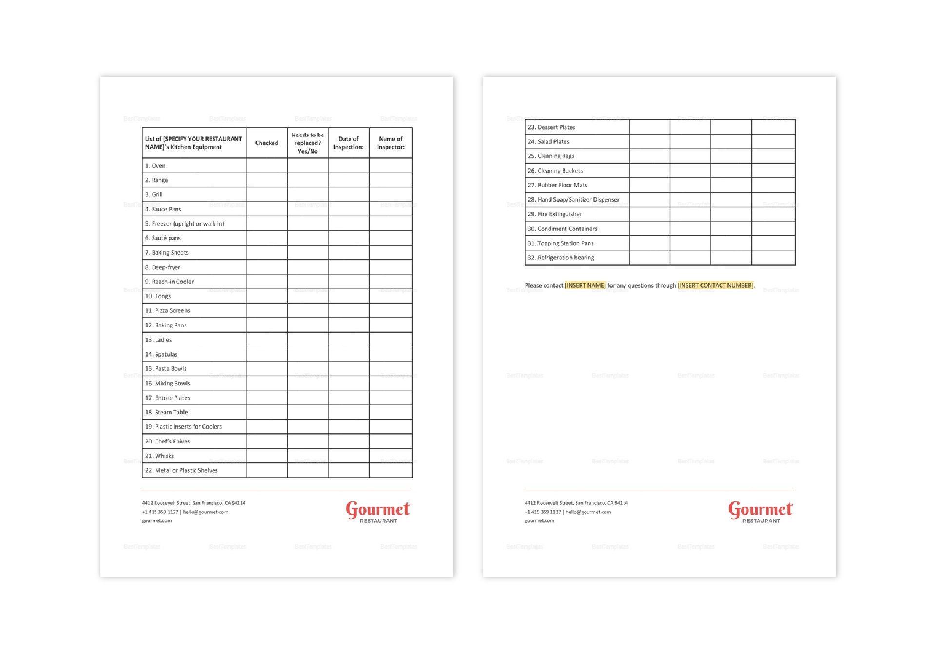 Restaurant Kitchen Equipment Checklist
