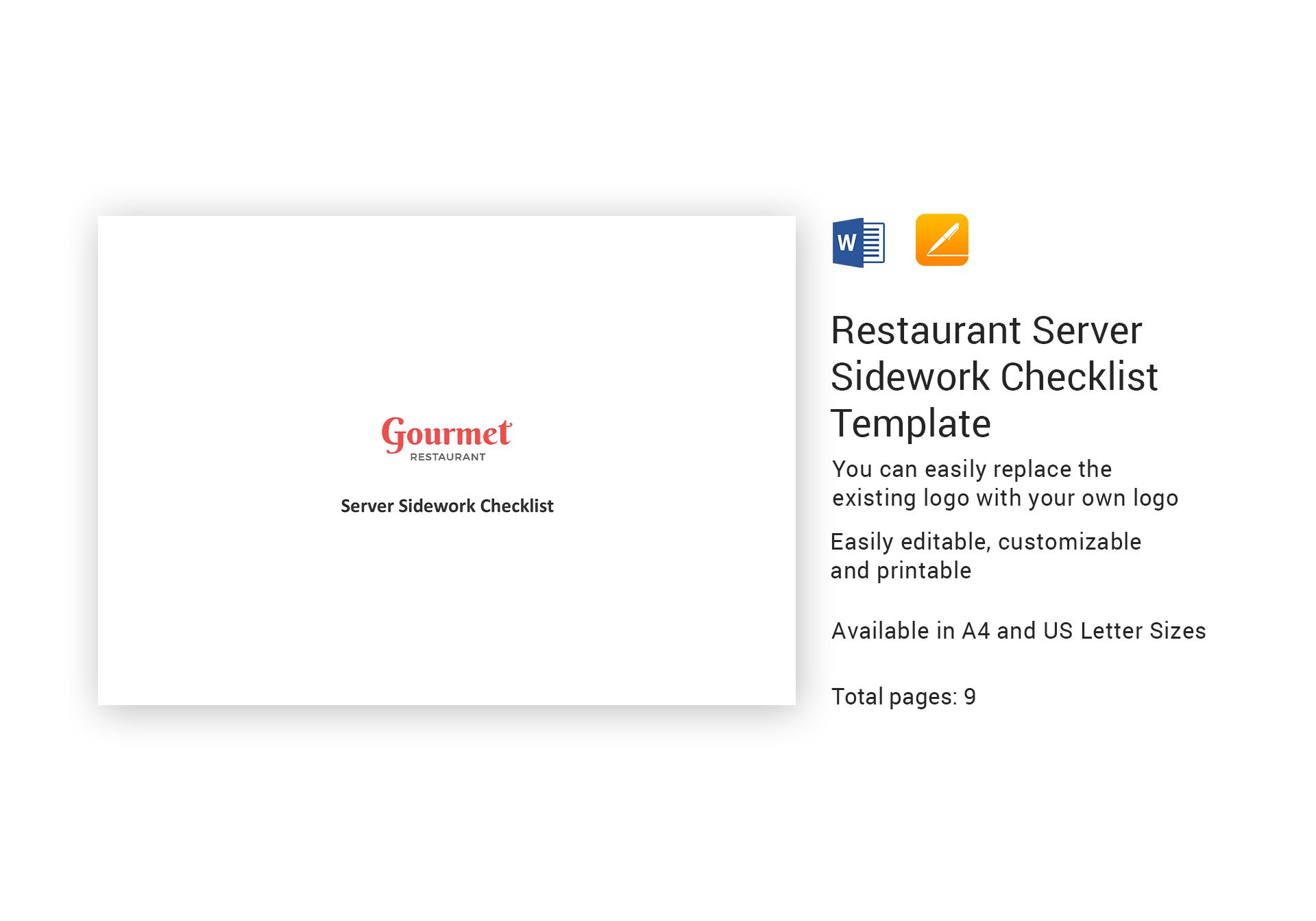 Restaurant Server Sidework Checklist Template In Ms Word Pages