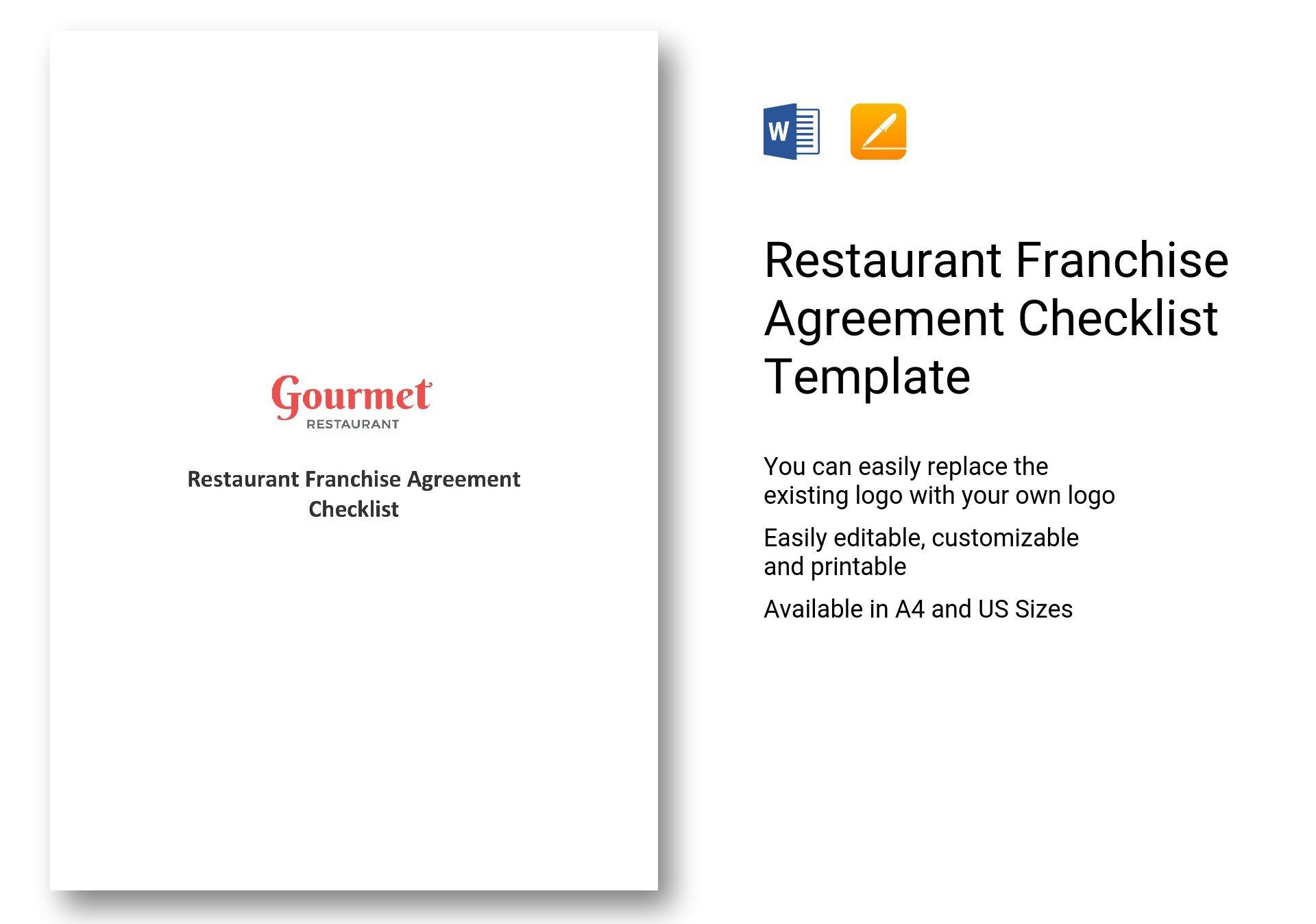Restaurant Franchise Agreement Checklist Template In Word