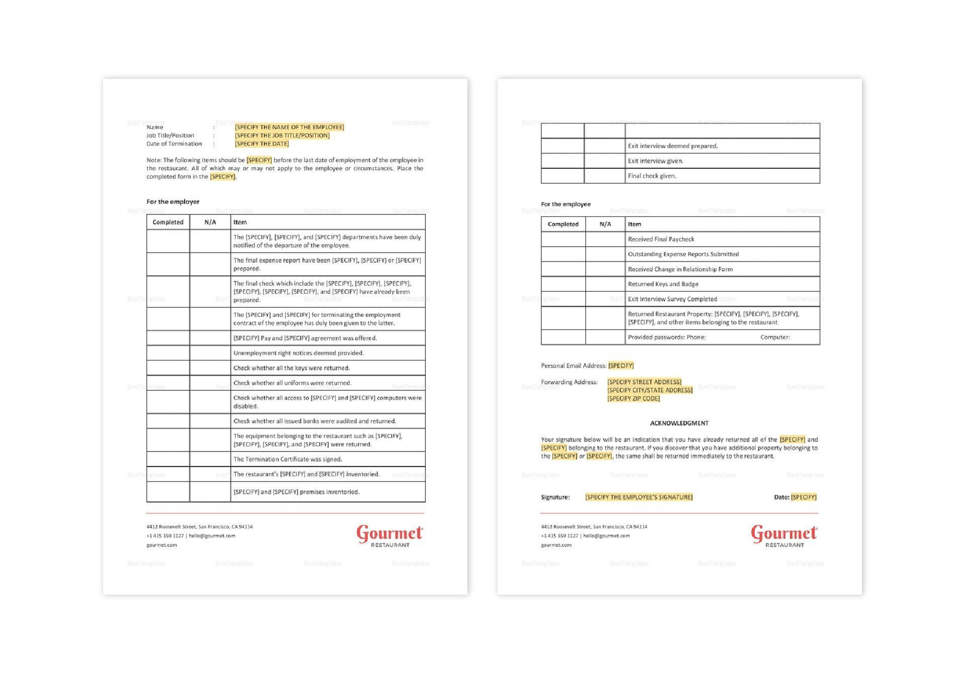 Restaurant Employee Termination Checklist