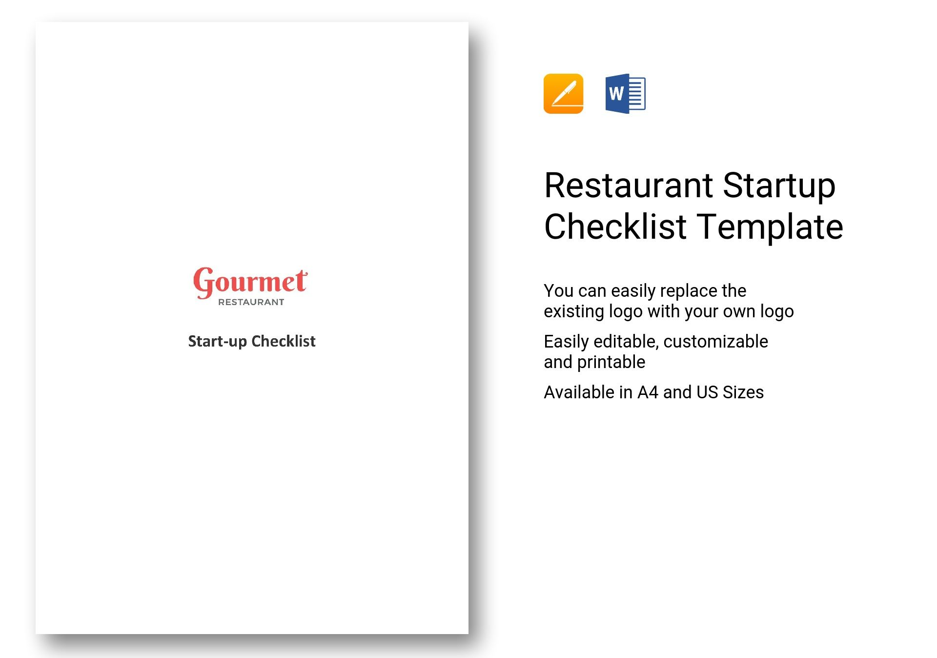 restaurant startup checklist template in word apple pages. Black Bedroom Furniture Sets. Home Design Ideas