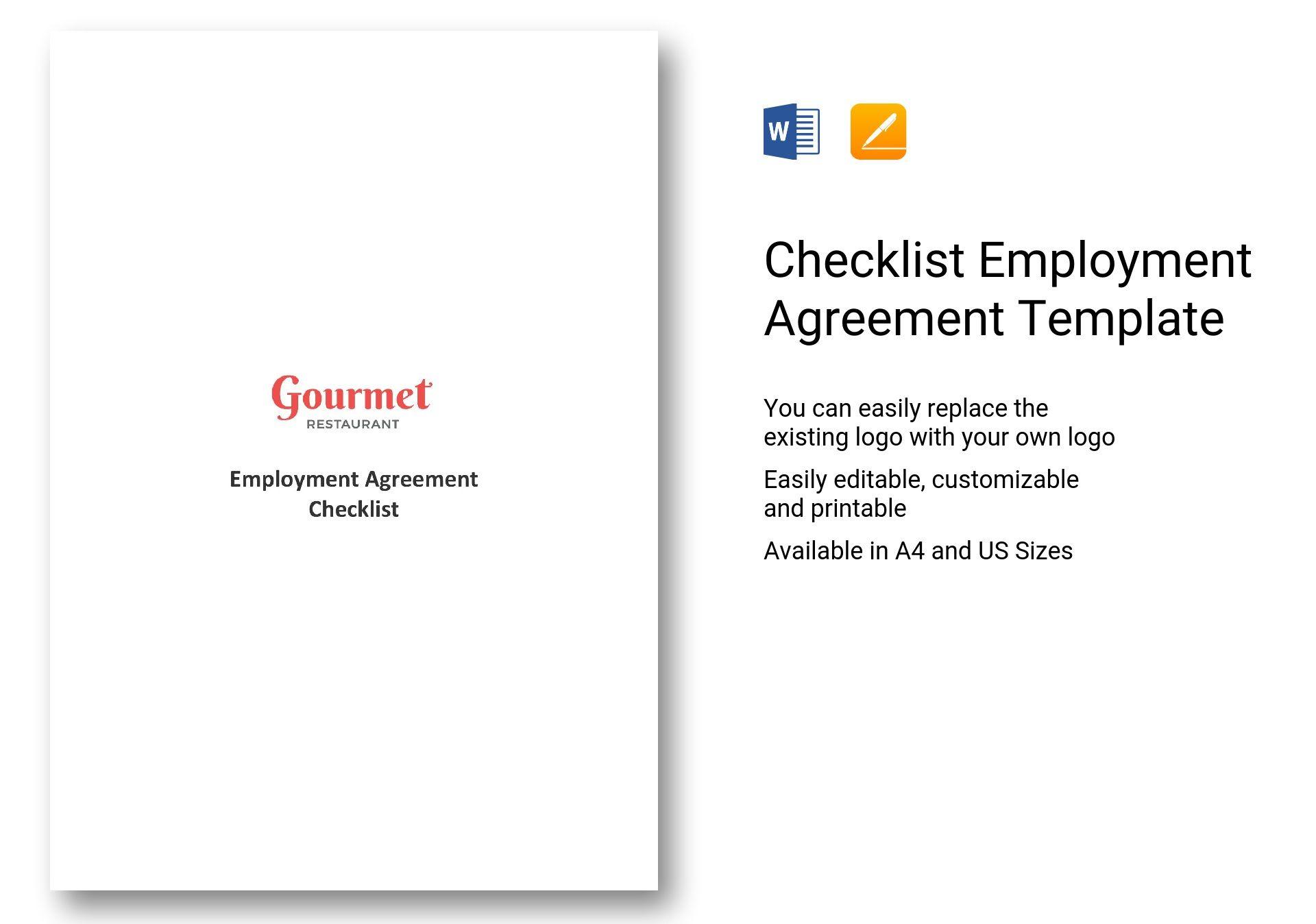 Checklist Employment Agreement