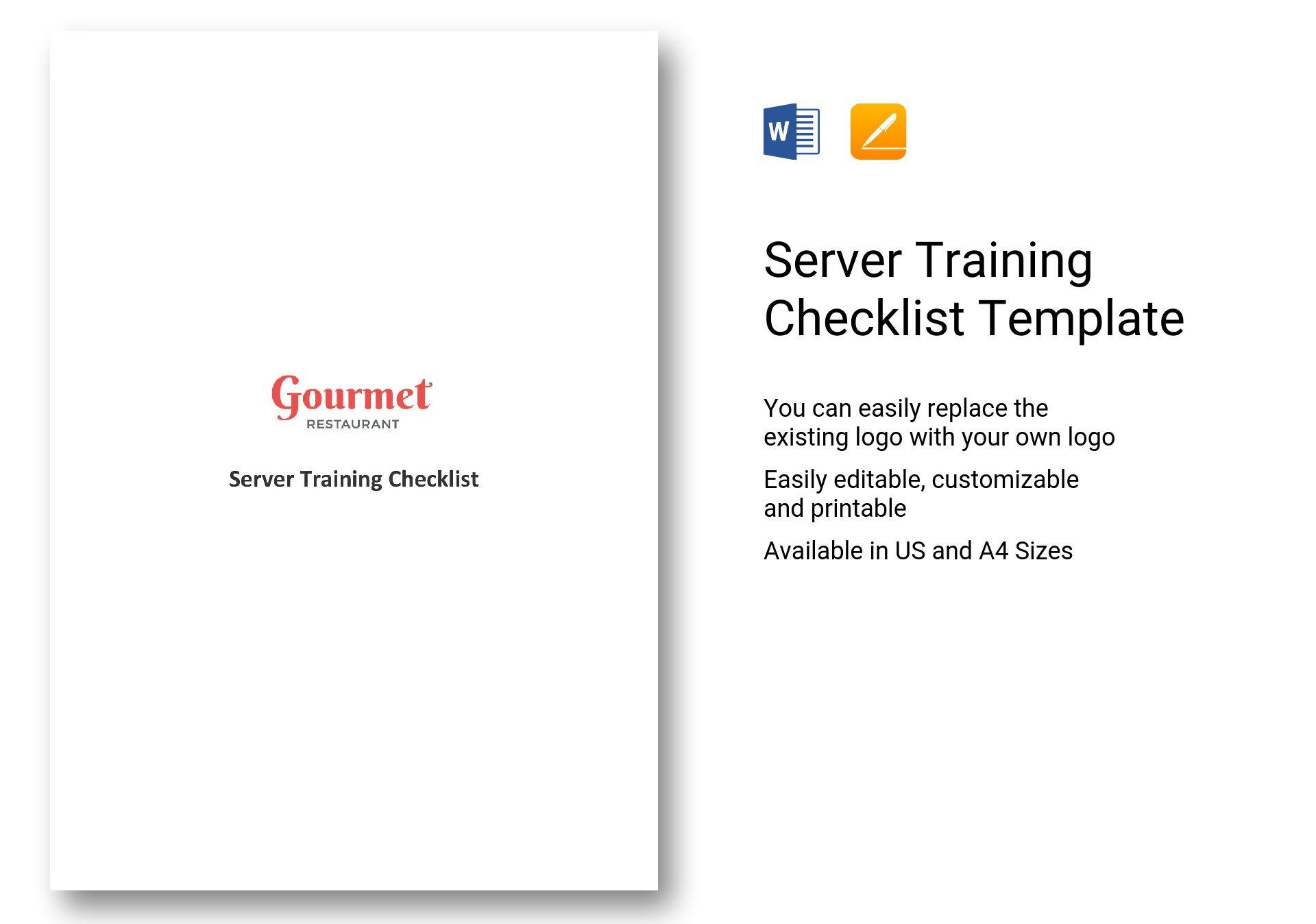 Server Training Checklist
