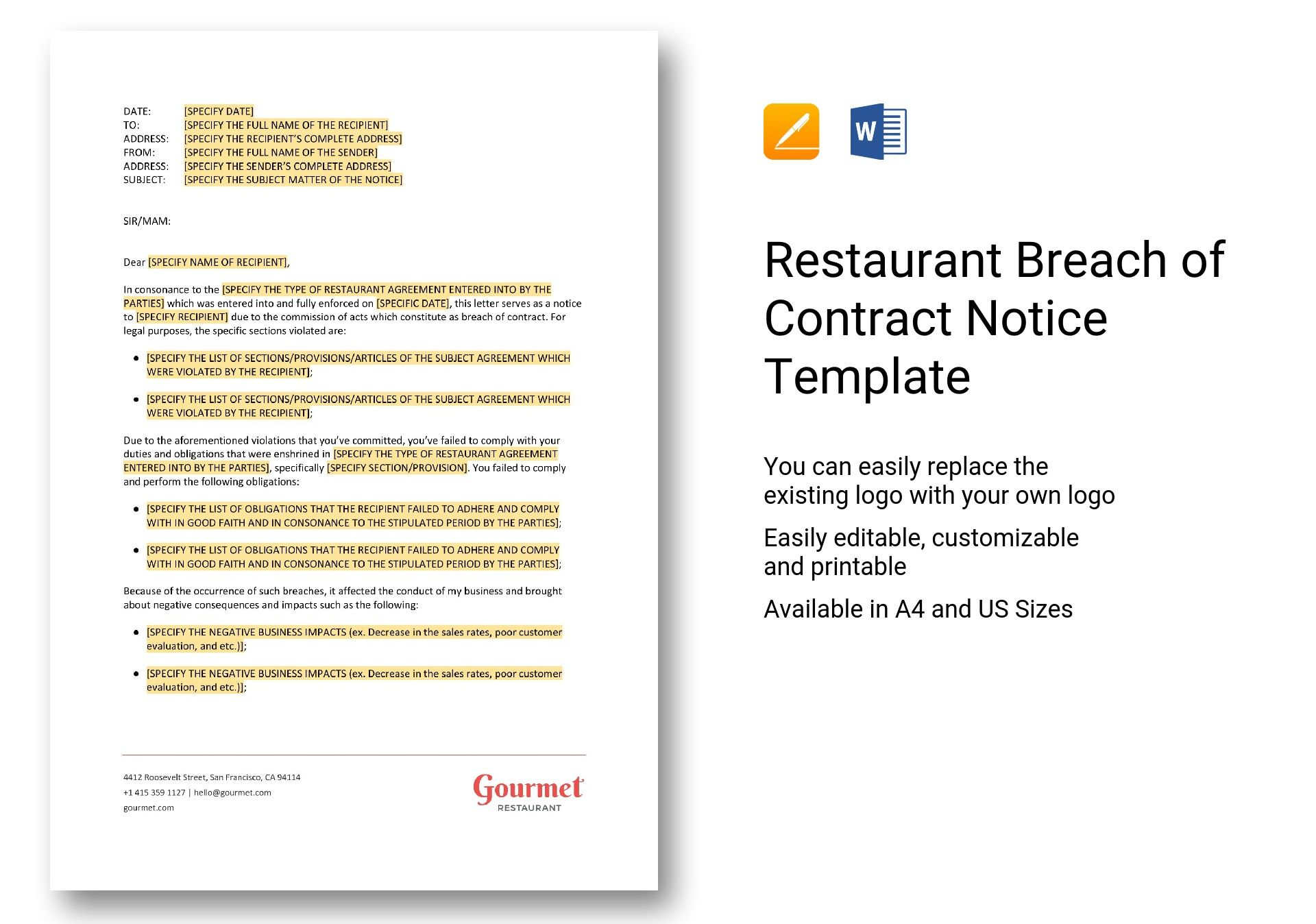 restaurant breach of contract notice template in word