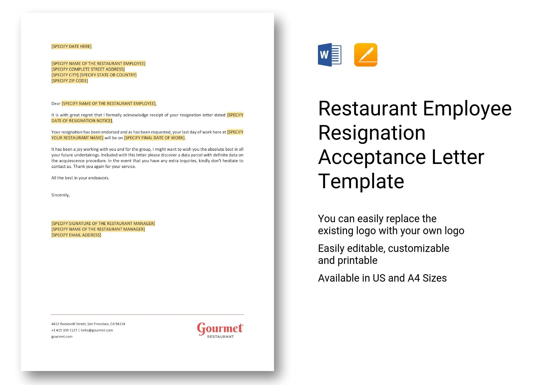 restaurant employee resignation acceptance letter template in word