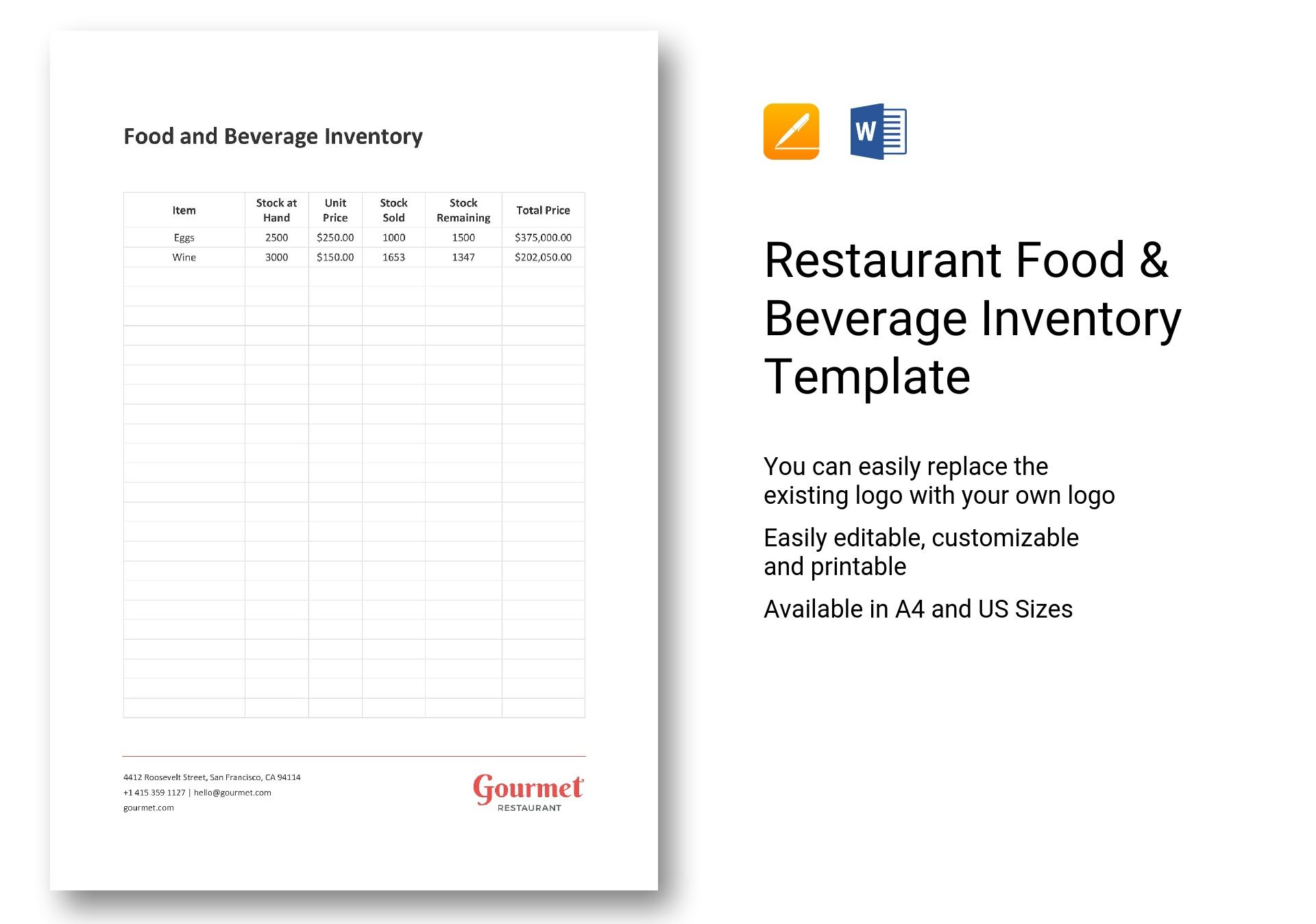 restaurant food beverage inventory template in word apple pages