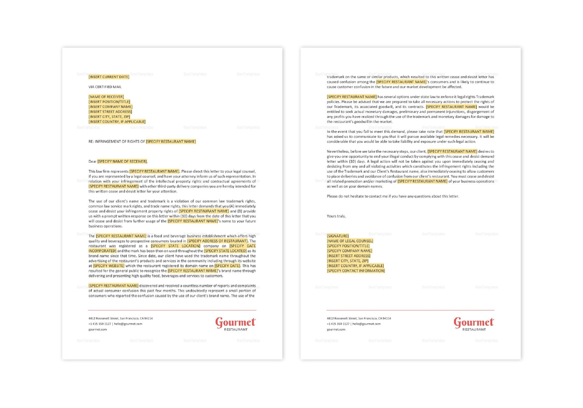 Cease and Desist Letter Template for Restaurants