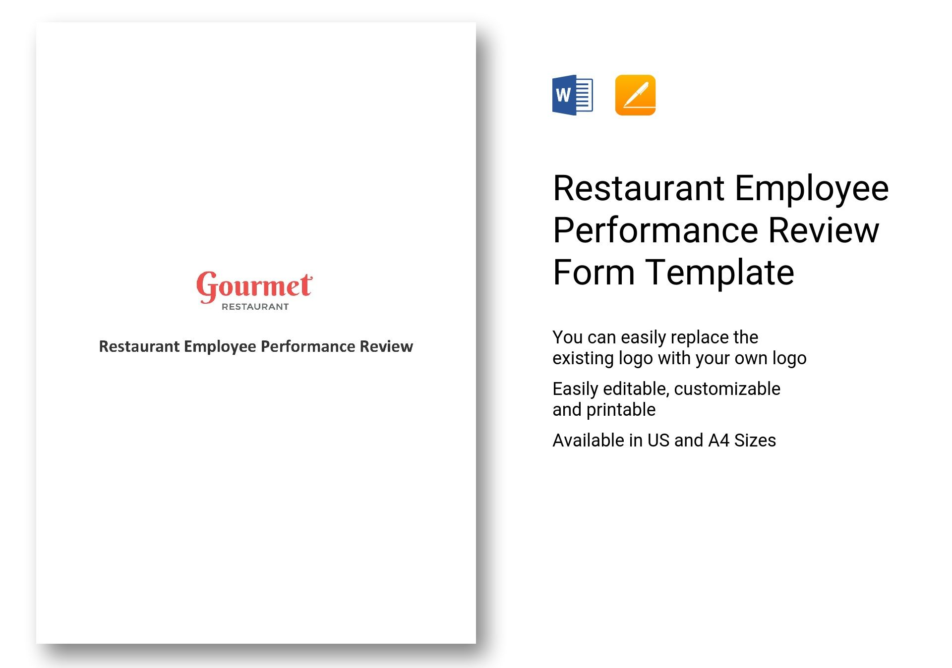 restaurant employee review form