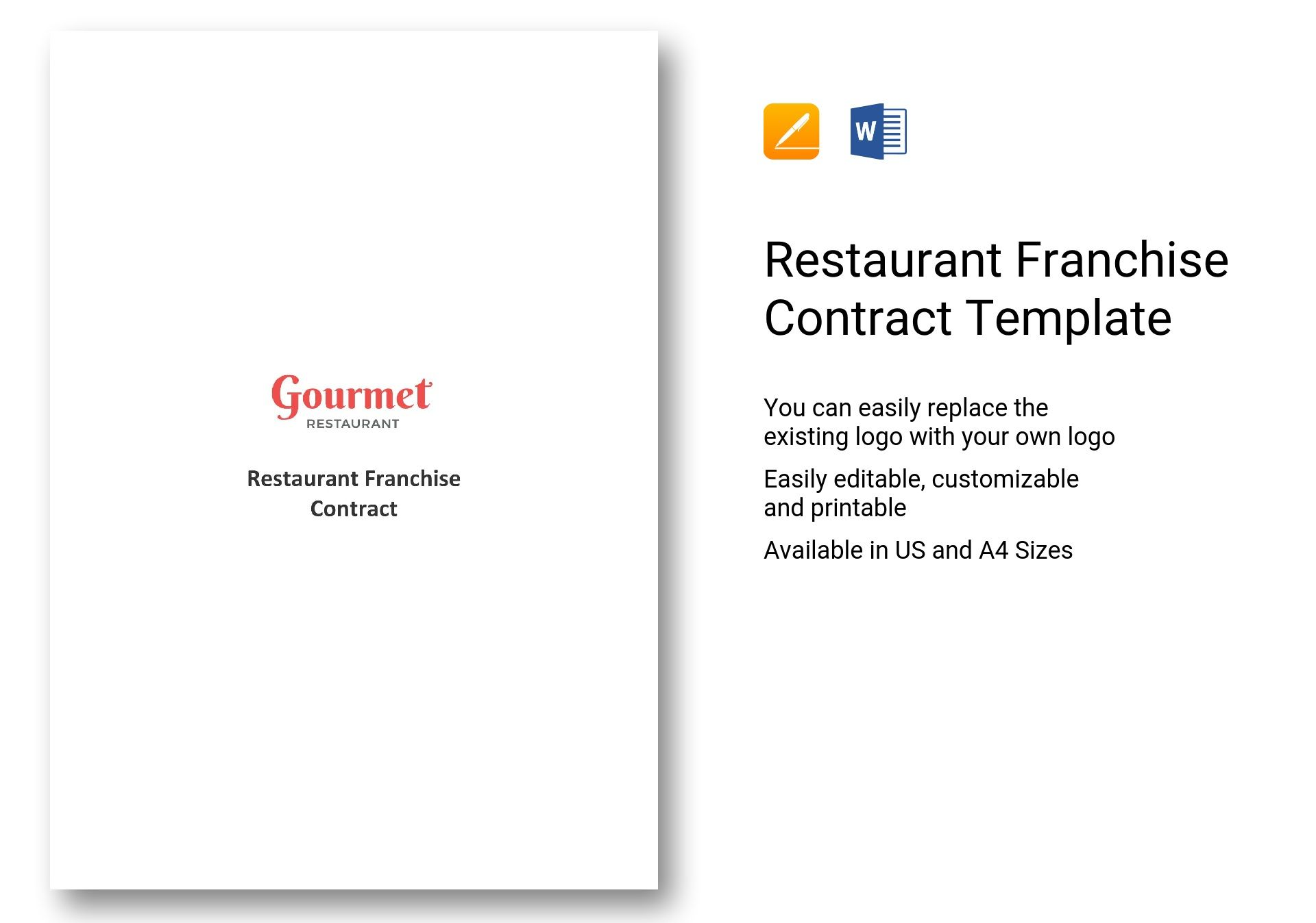 restaurant franchise contract template in word apple pages