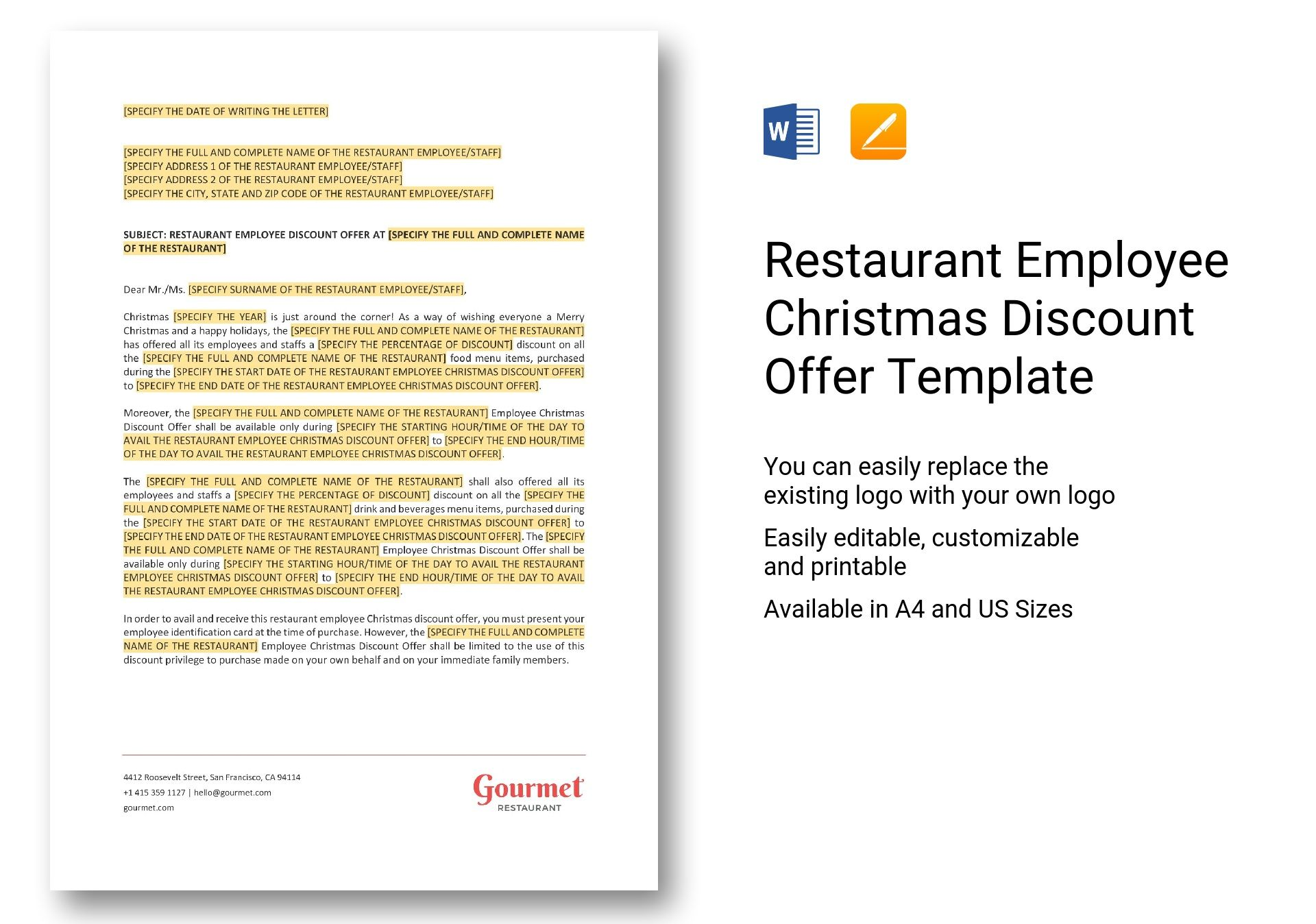 Restaurant Employee Christmas Discount Offer Template in Word, Apple ...