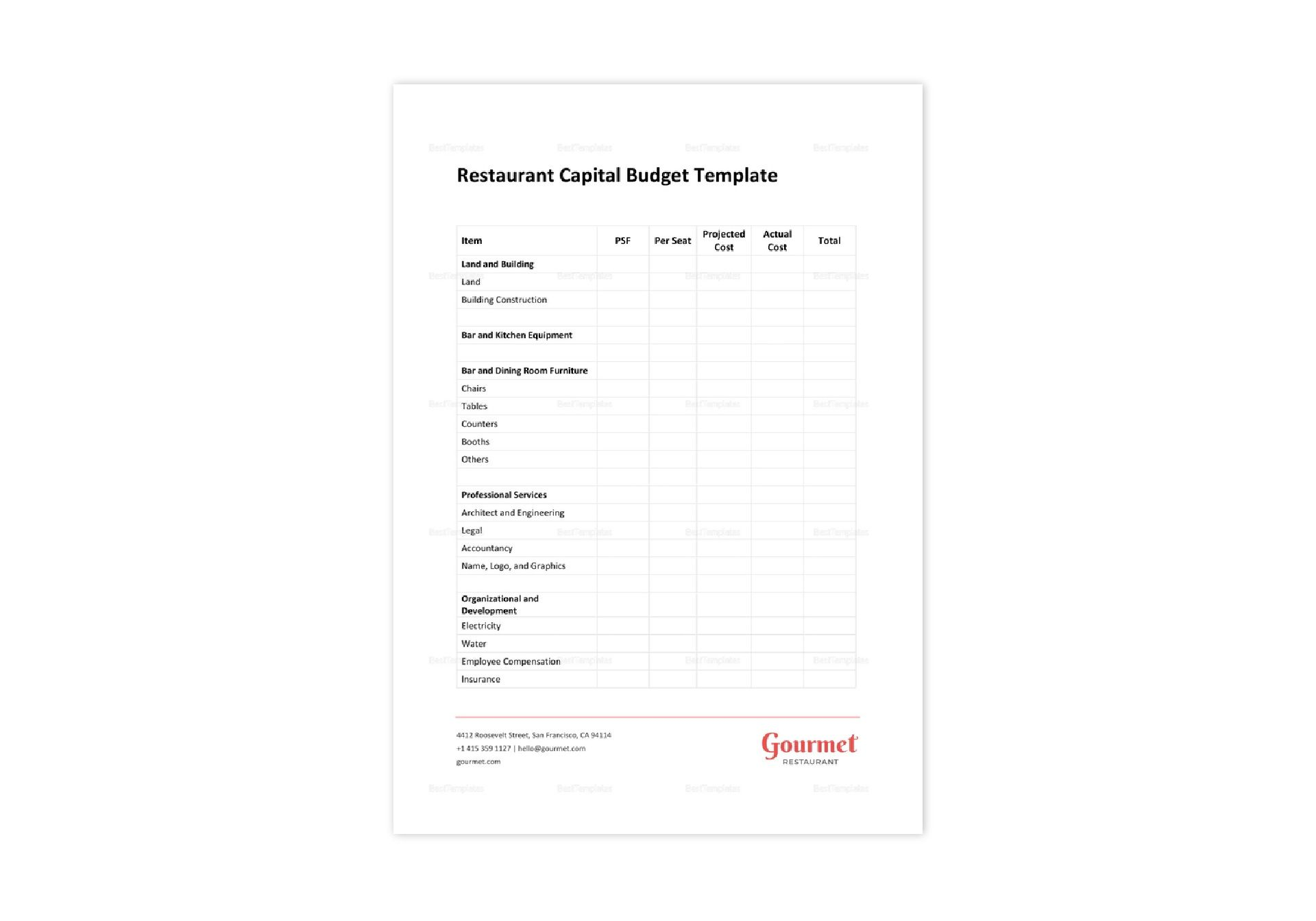 Restaurant Capital Budget Template In Word Apple Pages