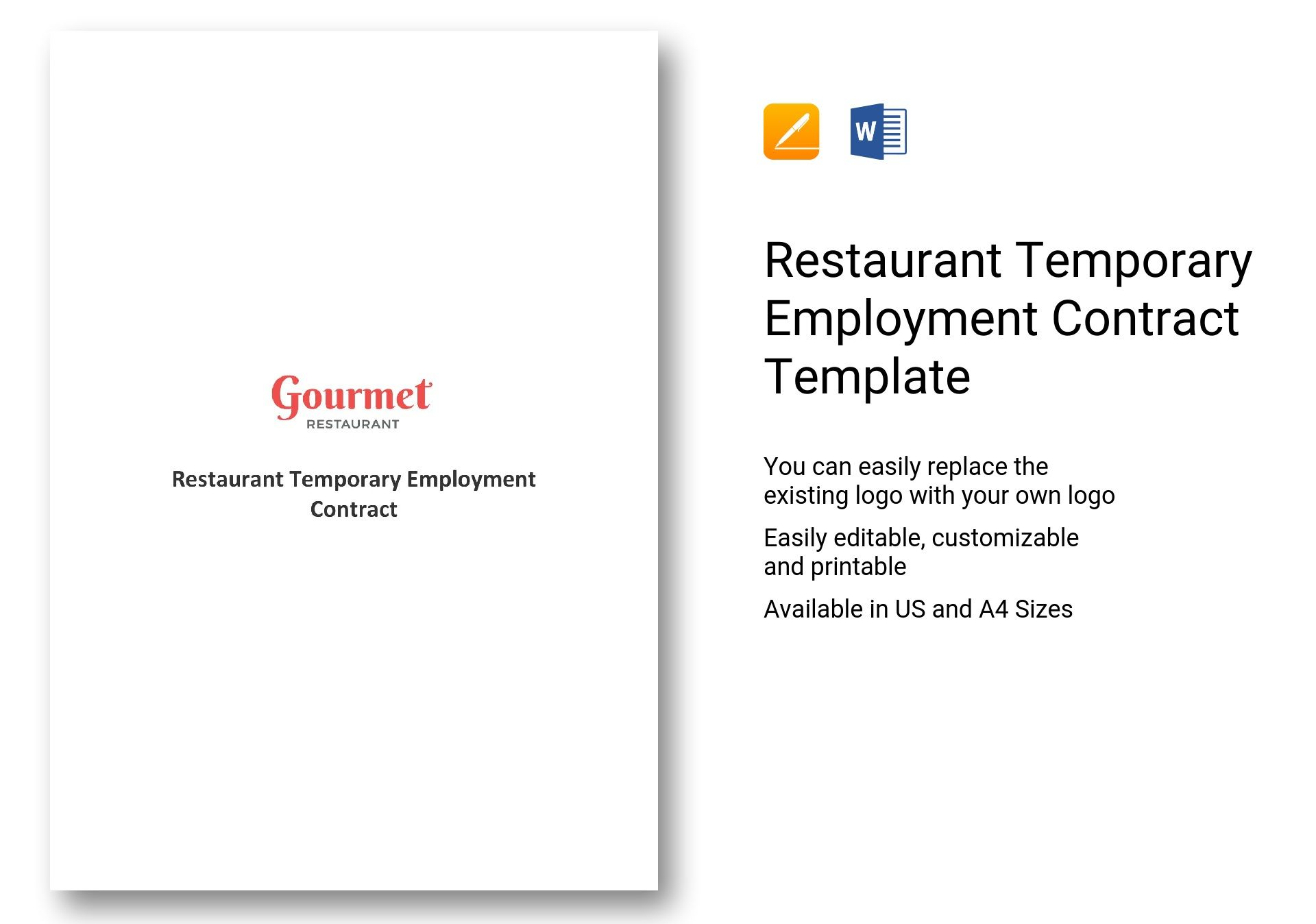 Restaurant Temporary Employment Contract Template in Word, Apple Pages