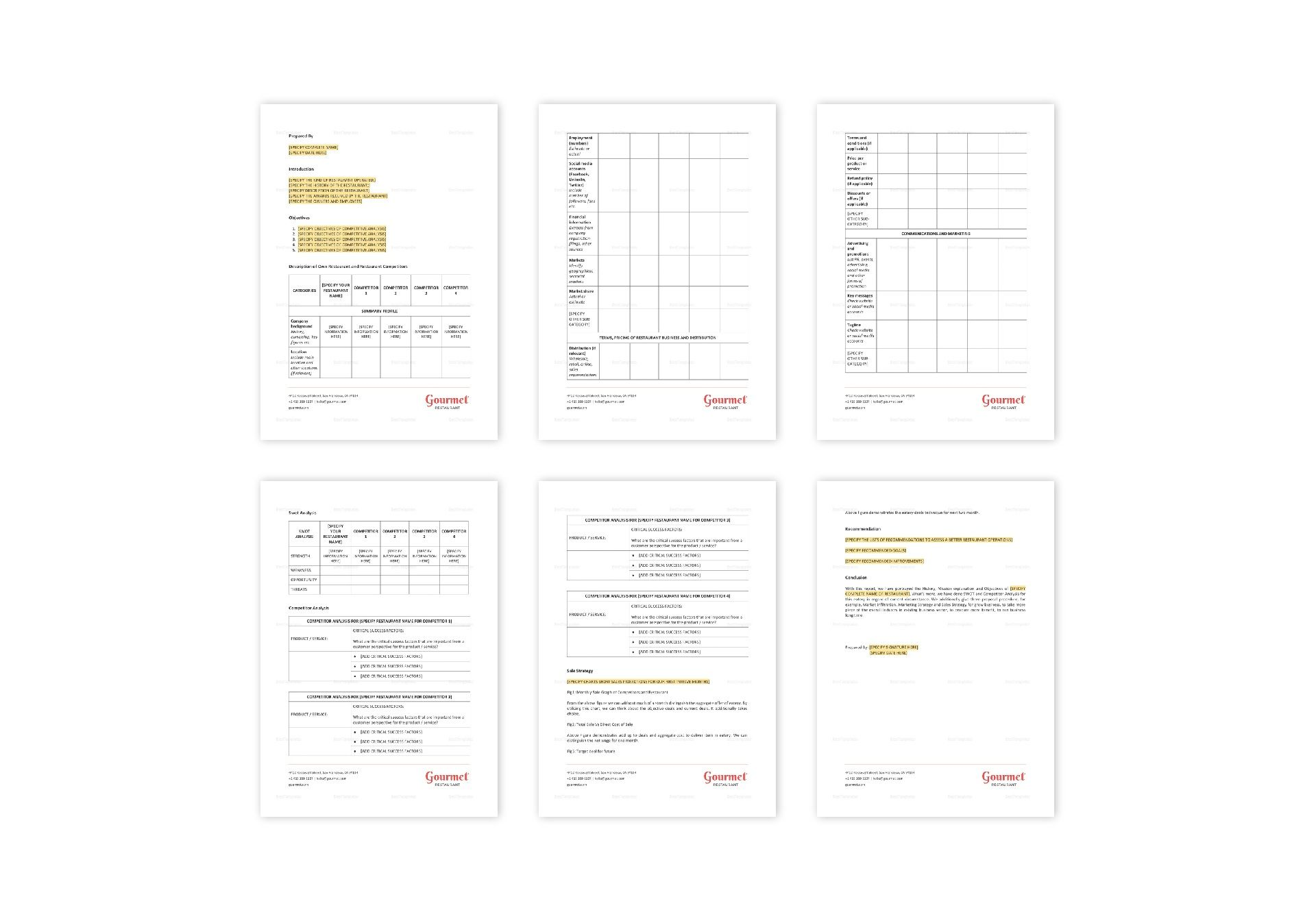 Compeive Ysis | Restaurant Competitive Analysis Template In Word Apple Pages