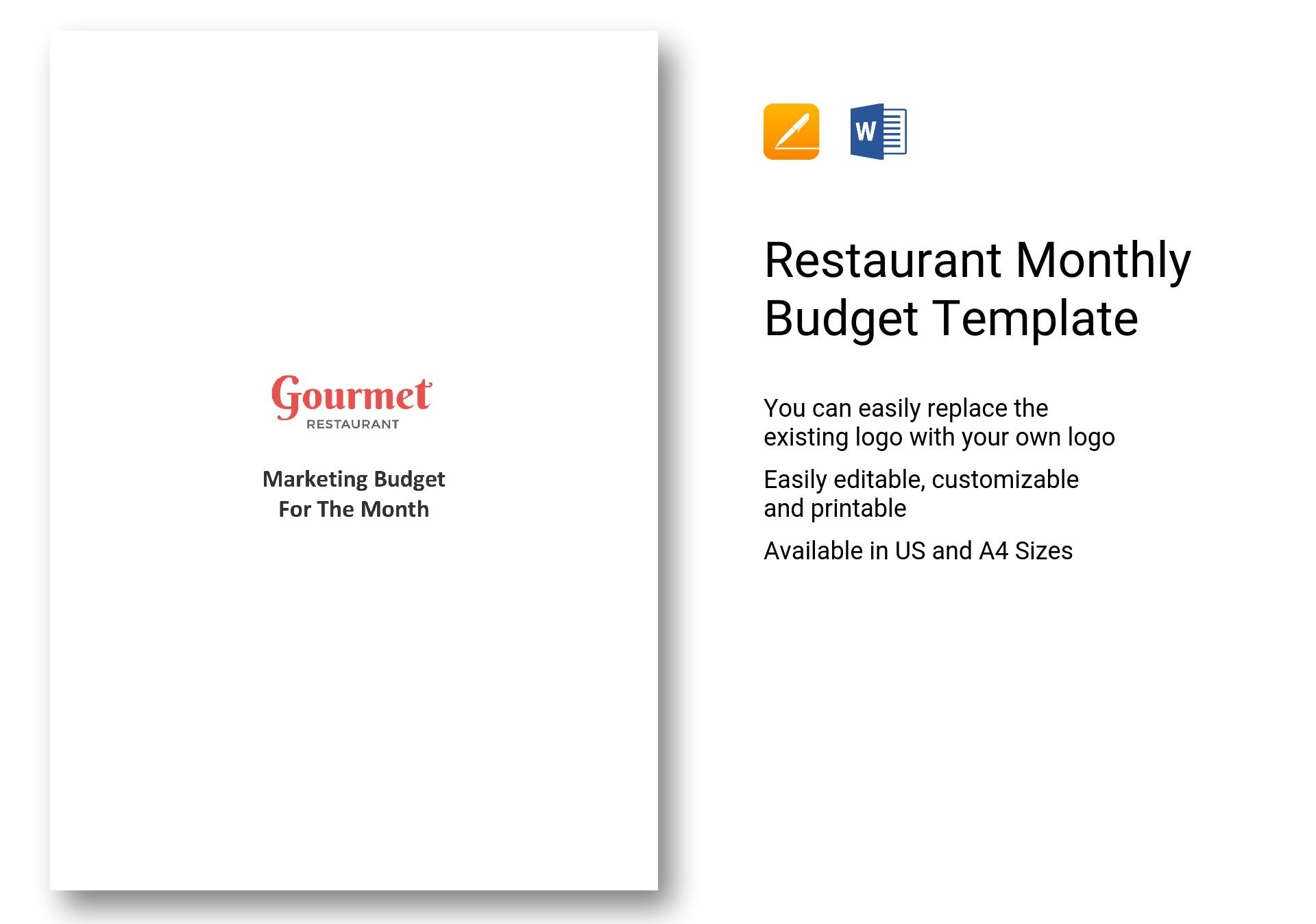 Restaurant Monthly Budget Template In Word Apple Pages