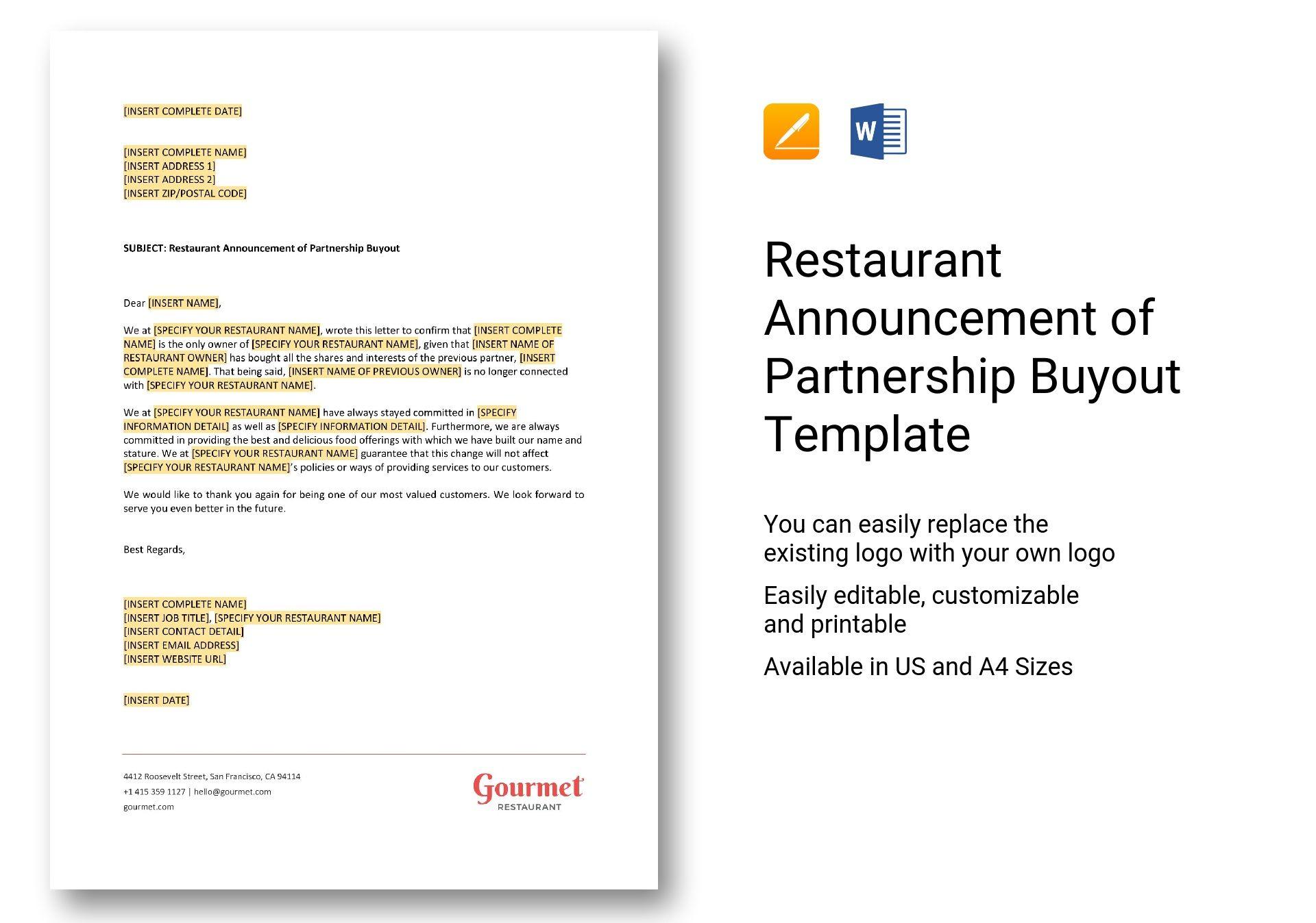 Restaurant Announcement of Partnership Buyout