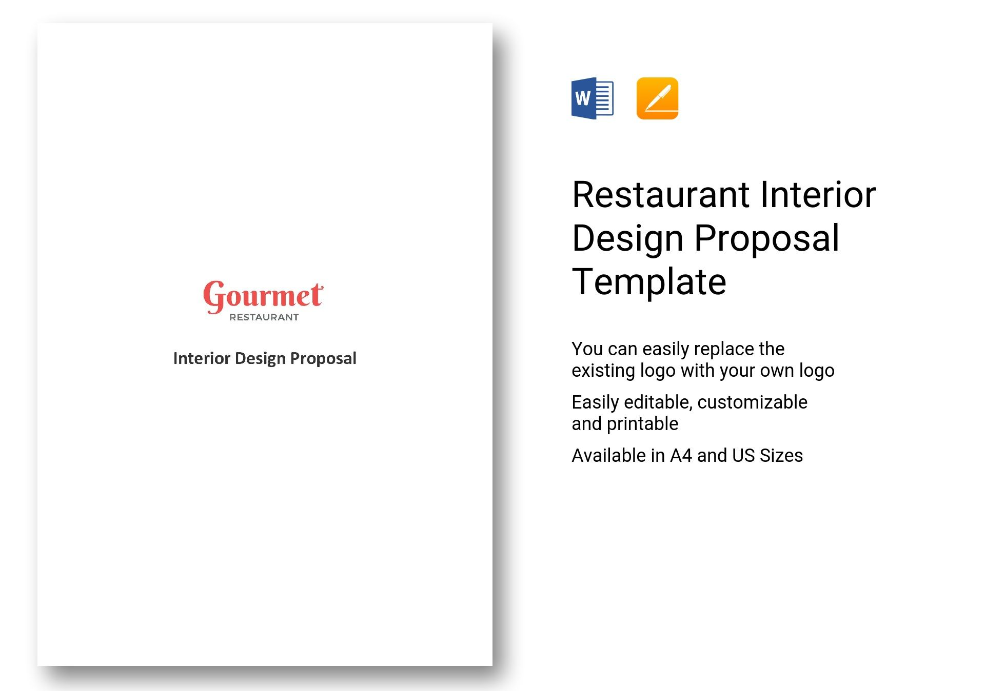 Restaurant interior design proposal template in word