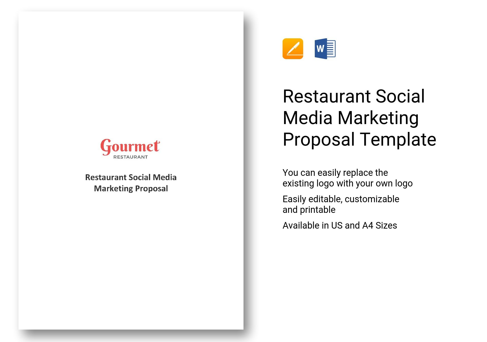Restaurant Social Media Marketing Proposal Template In Word Apple Pages