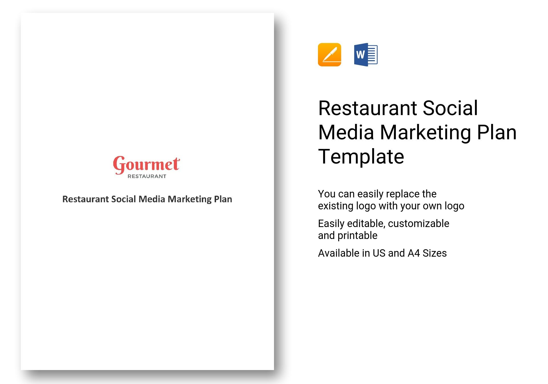 Restaurant Social Media Marketing Plan Template In Word Apple Pages