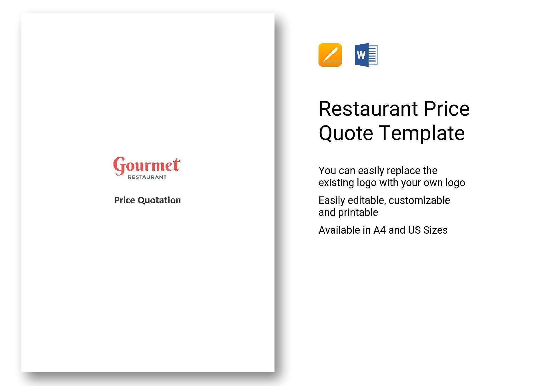 Restaurant Price Quote