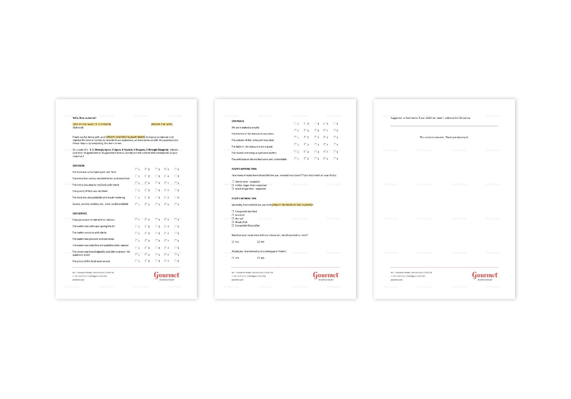 Restaurant Customer Satisfaction Survey Template in Word, Apple Pages