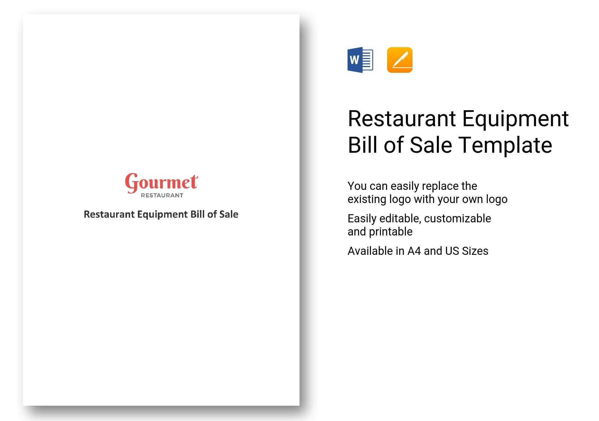 Restaurant Equipment Bill of Sale