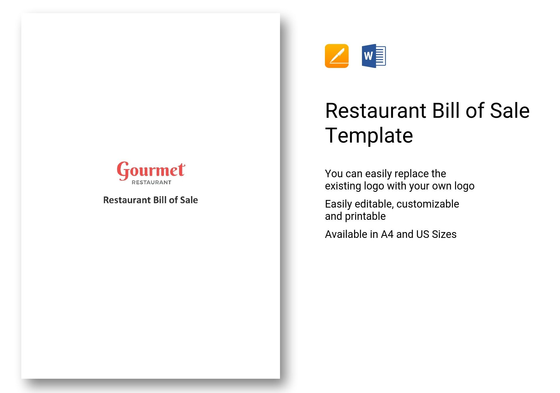 restaurant bill of sale template in word apple pages