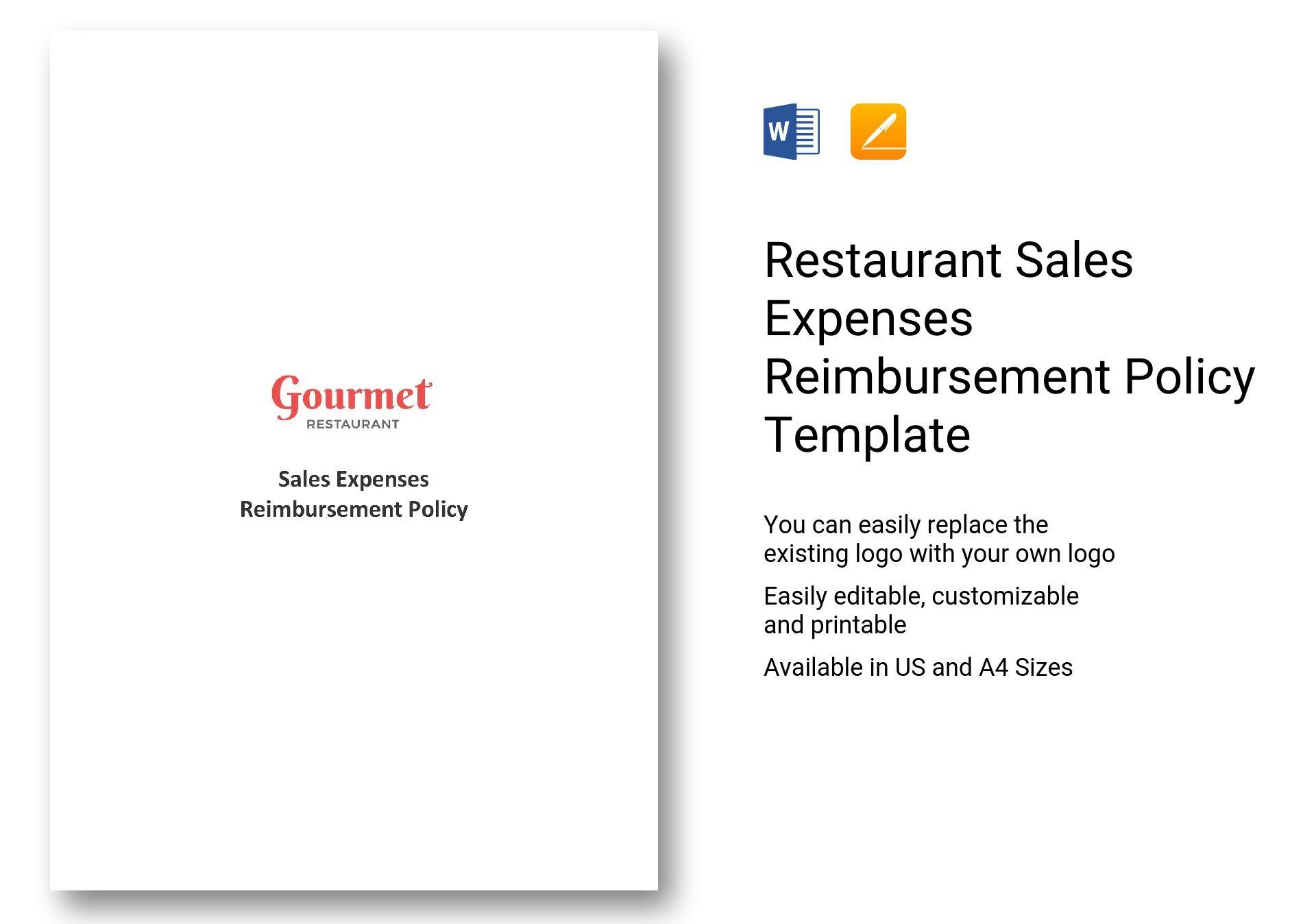 Restaurant Sales Expenses Reimbursement Policy