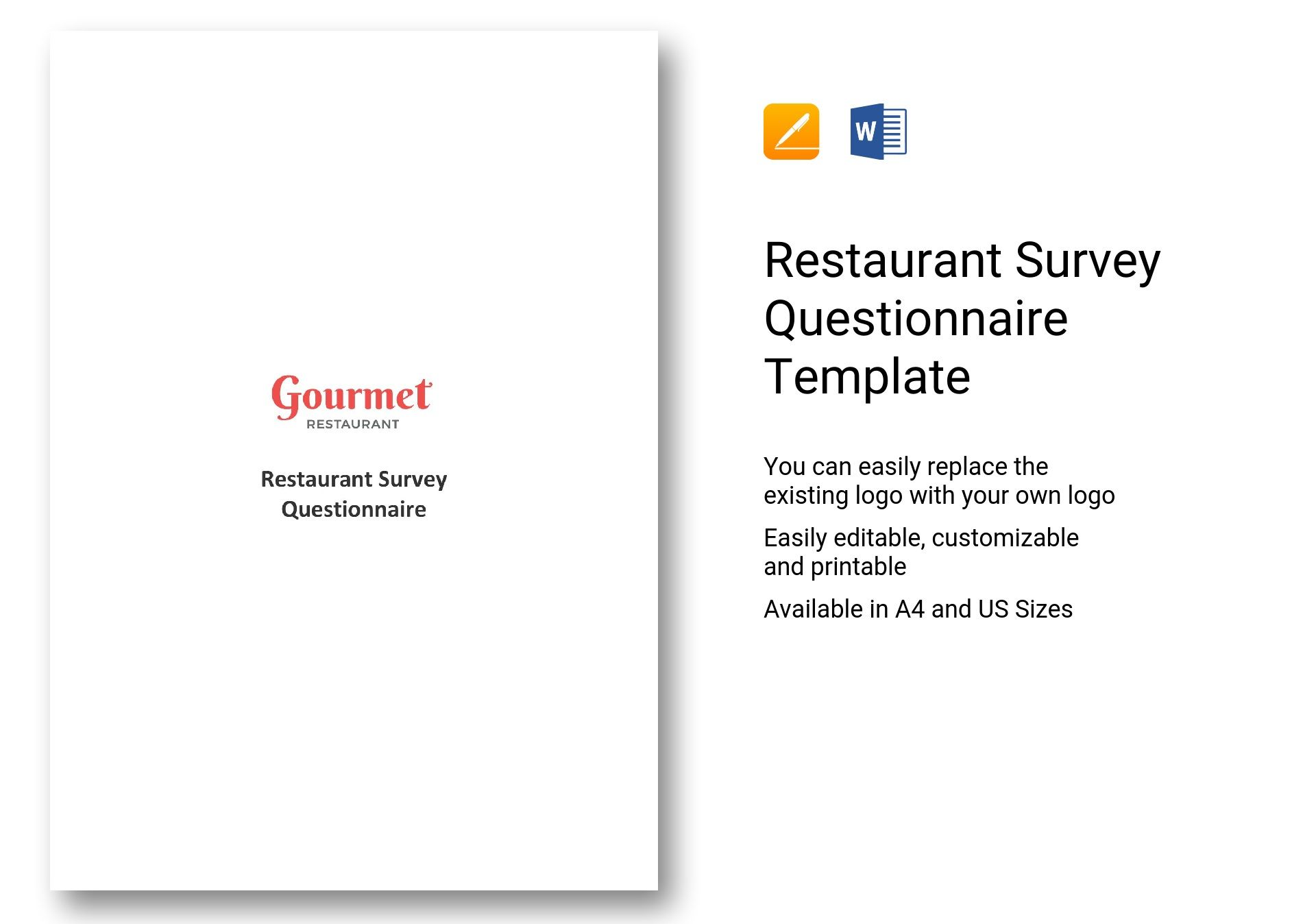 restaurant survey questionnaire template in word apple pages