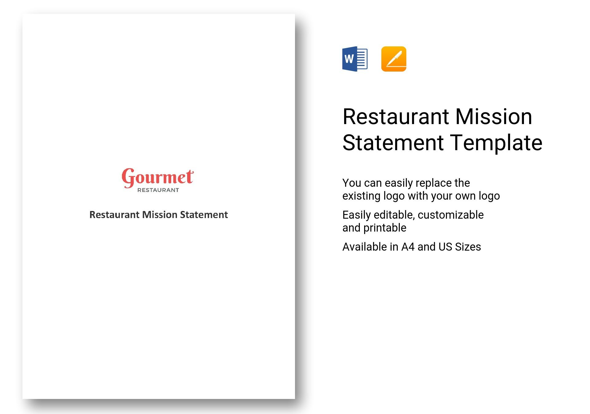 restaurant mission statement template in word  apple pages