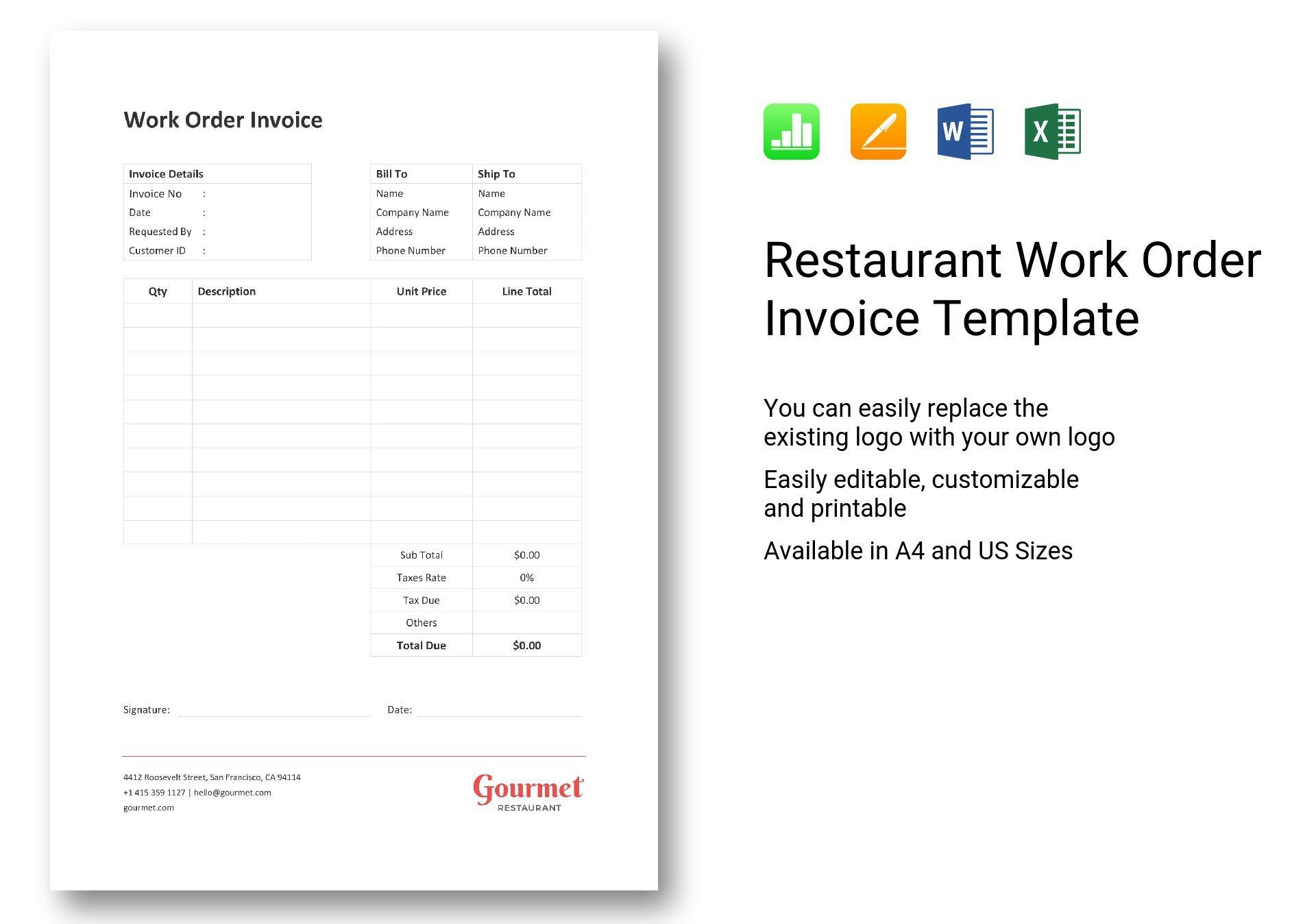 Restaurant Work Order Invoice