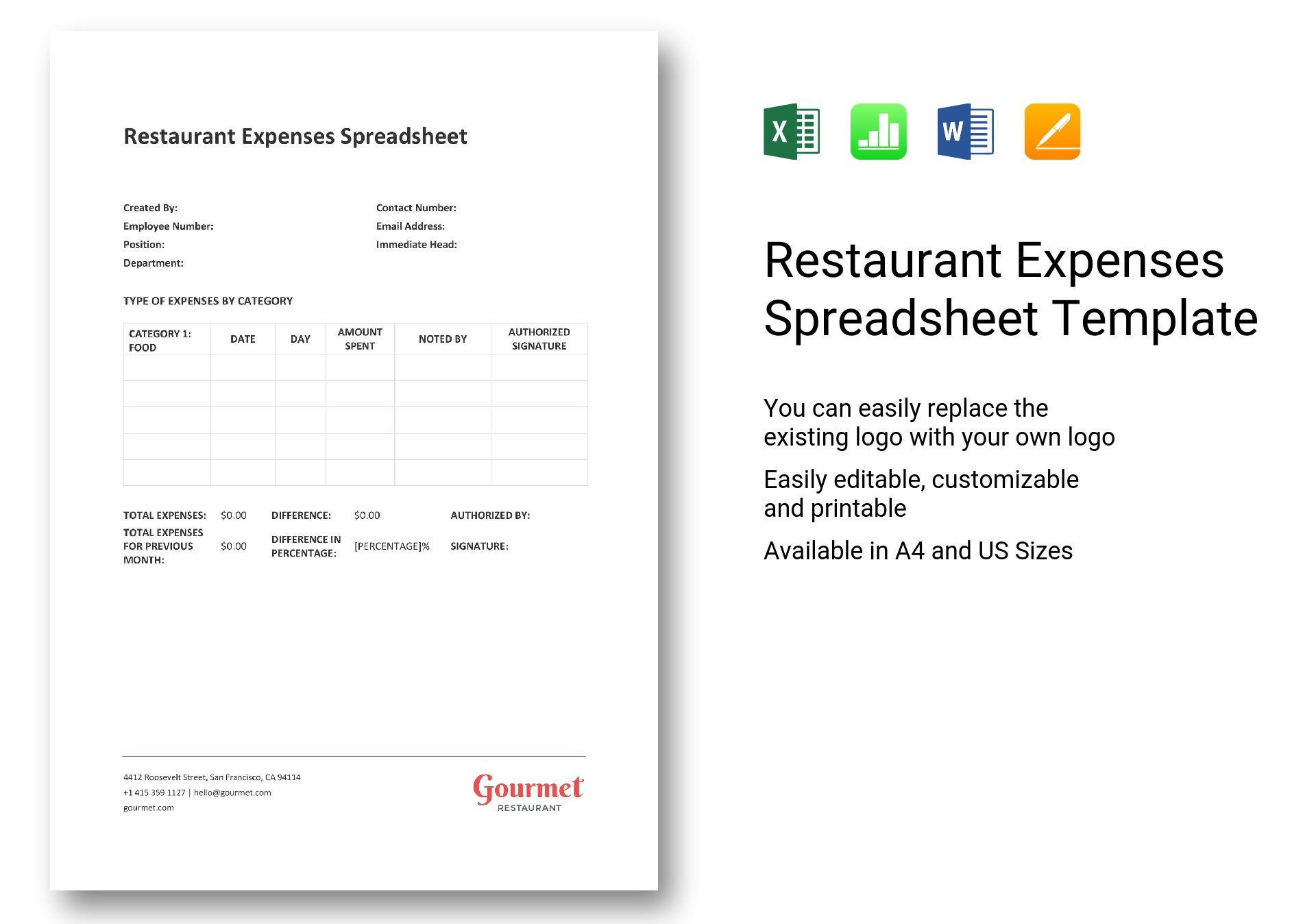 restaurant expenses spreadsheet template in word excel apple pages