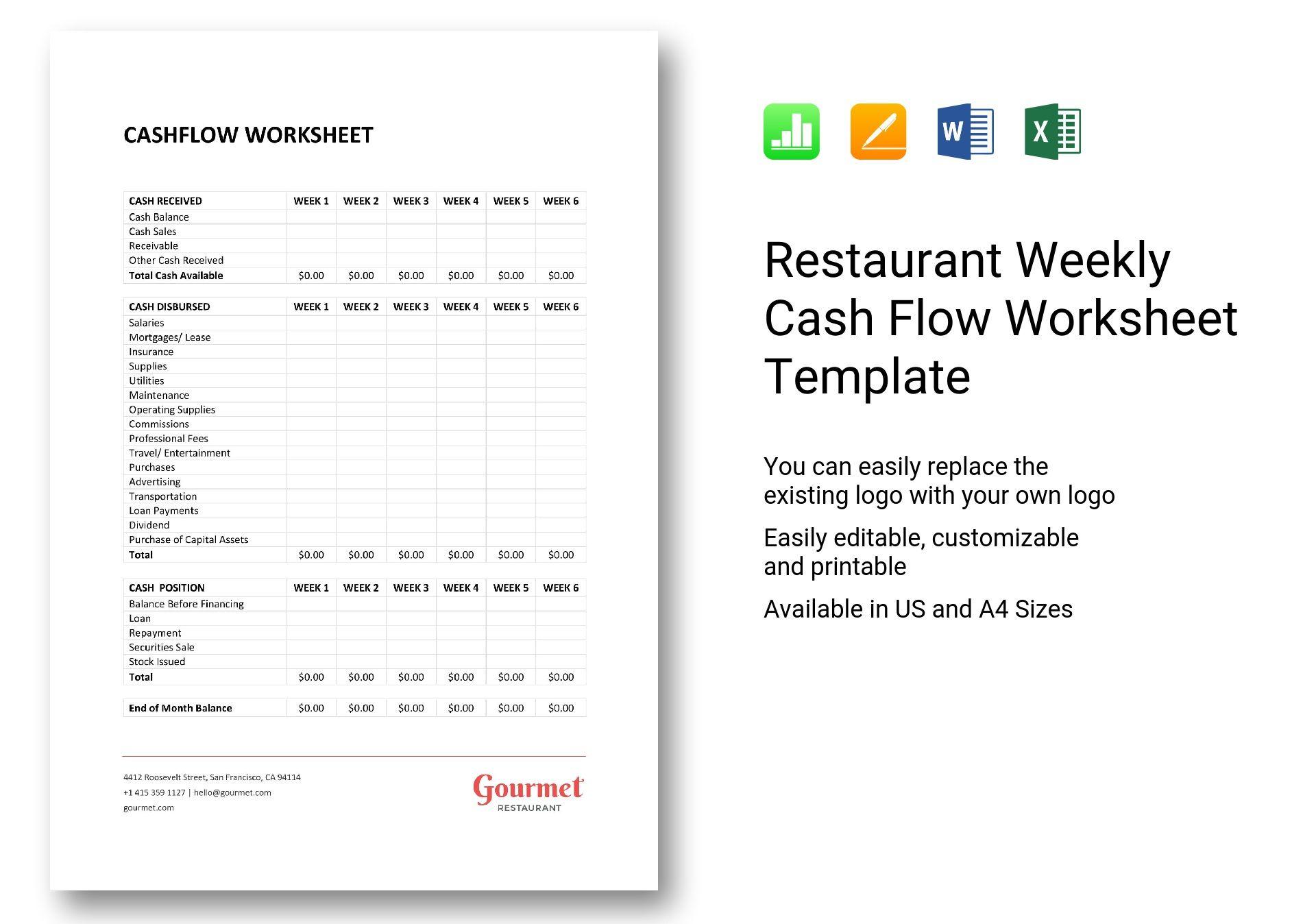restaurant weekly cash flow worksheet template in word excel apple