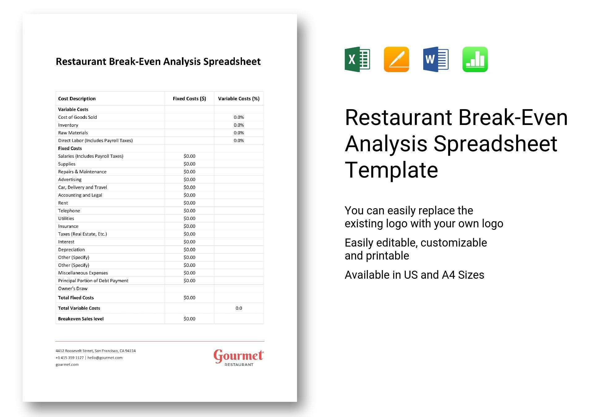 Restaurant break even analysis spreadsheet template in word excel restaurant break even analysis spreadsheet maxwellsz