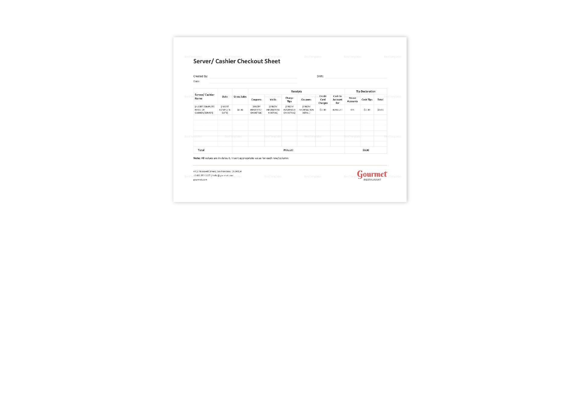 restaurant server  cashier checkout sheet template in word
