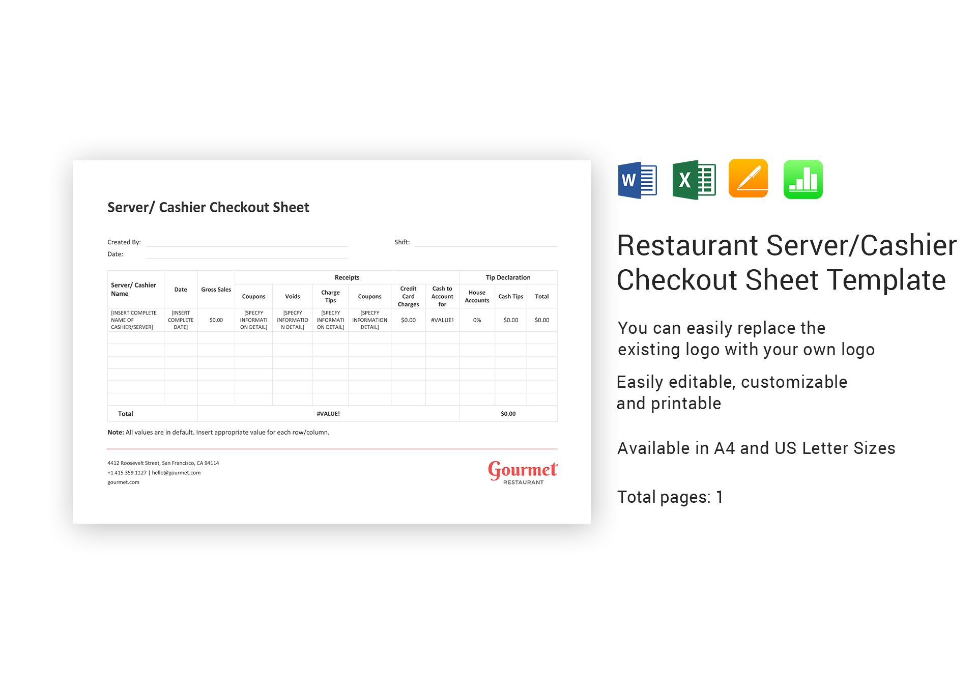 restaurant server cashier checkout sheet template in word excel