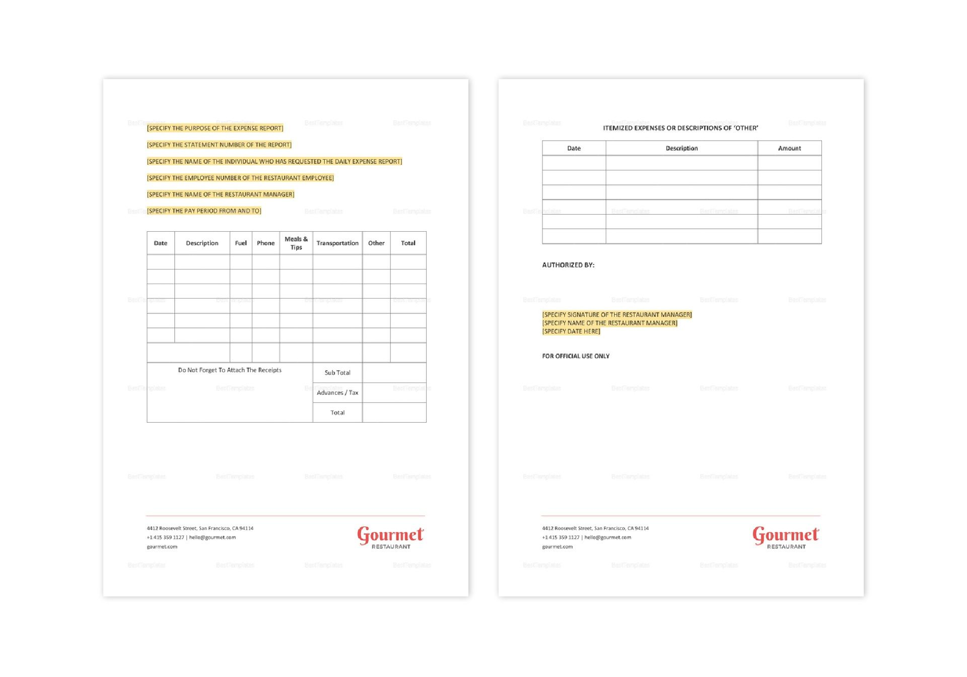 restaurant daily expense report template in word apple pages