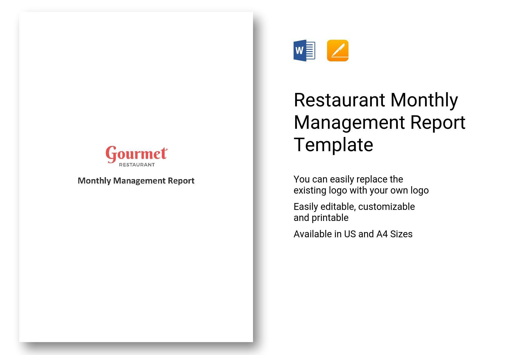 Restaurant Monthly Management Report