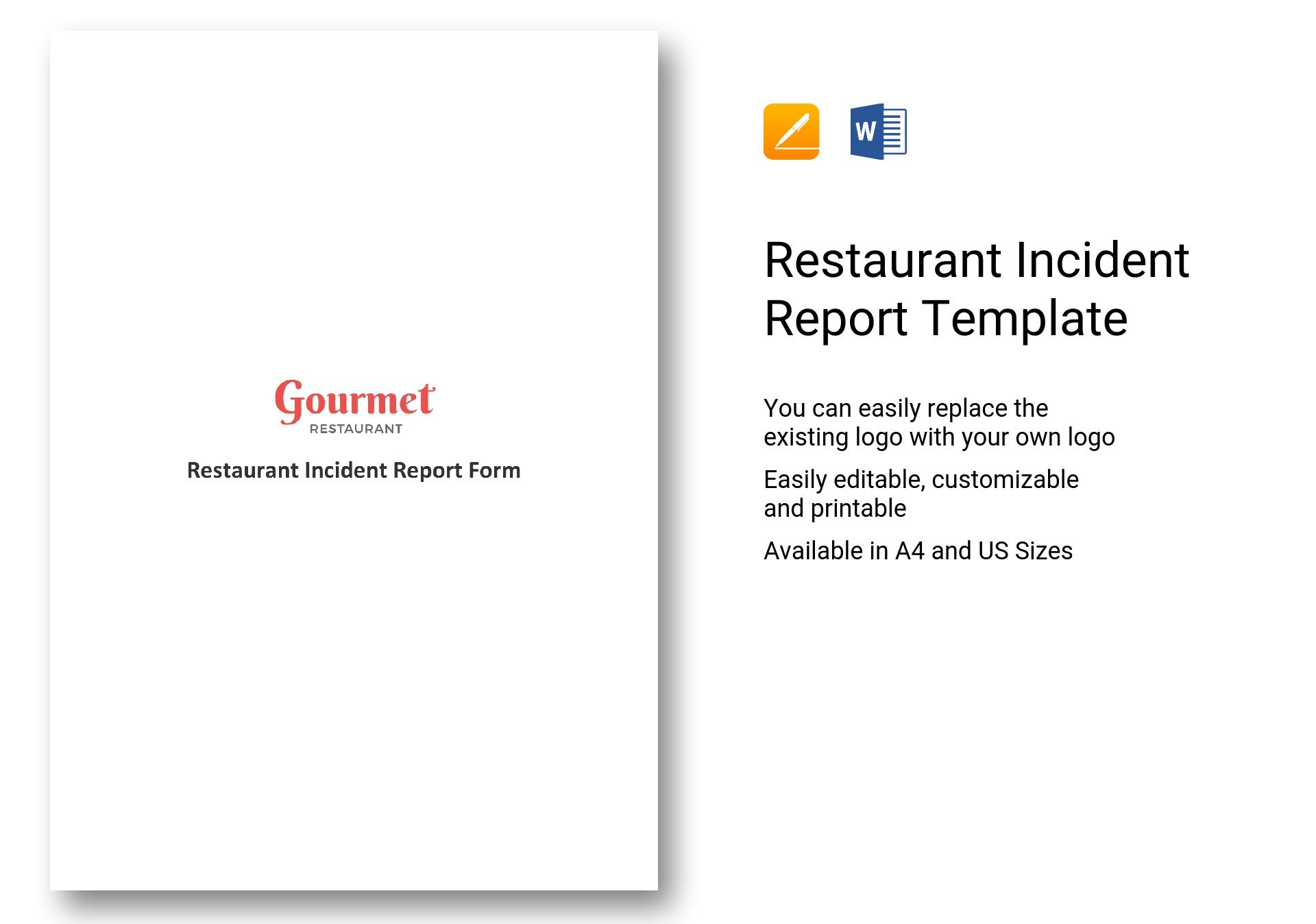 Restaurant Incident Report Template In Word Apple Pages